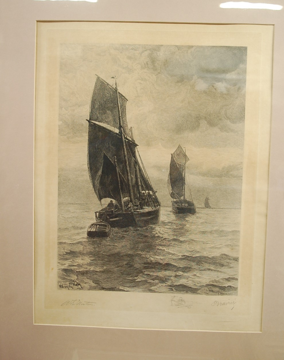 Lot 1010 - After William E. Norton - Fishing boats, etching by A Gravier, pencil signed to the margin by both