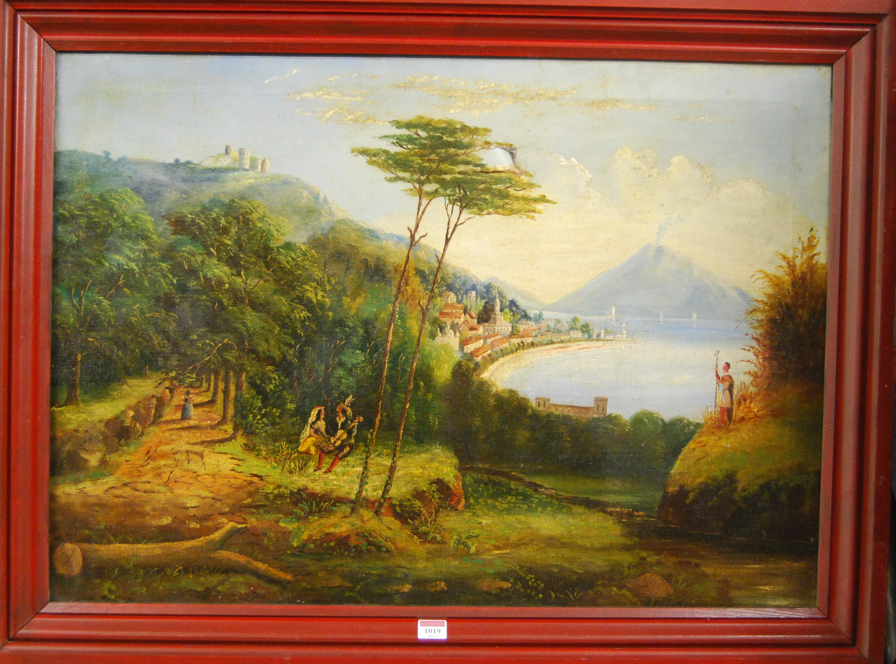 Lot 1019 - Circa 1900 continental school - Extensive coastal landscape scene with musicians, oil on canvas (a/