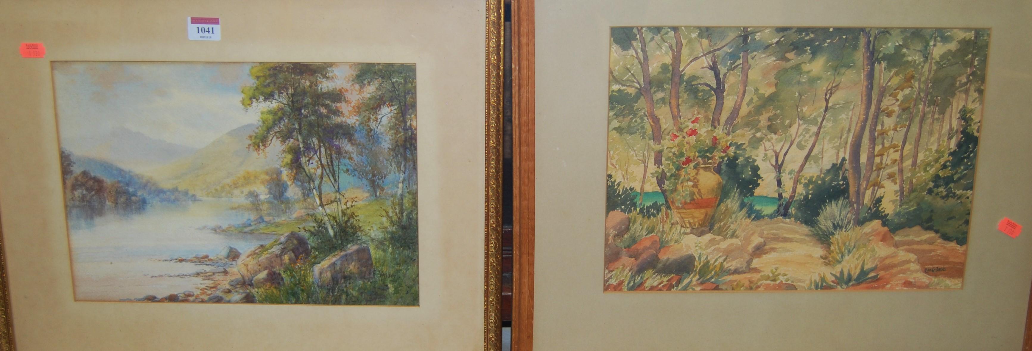 Lot 1041 - F. Hider - River landscape, watercolour, signed lower right, 25 x 35cm; and Eva Webb watercolour (