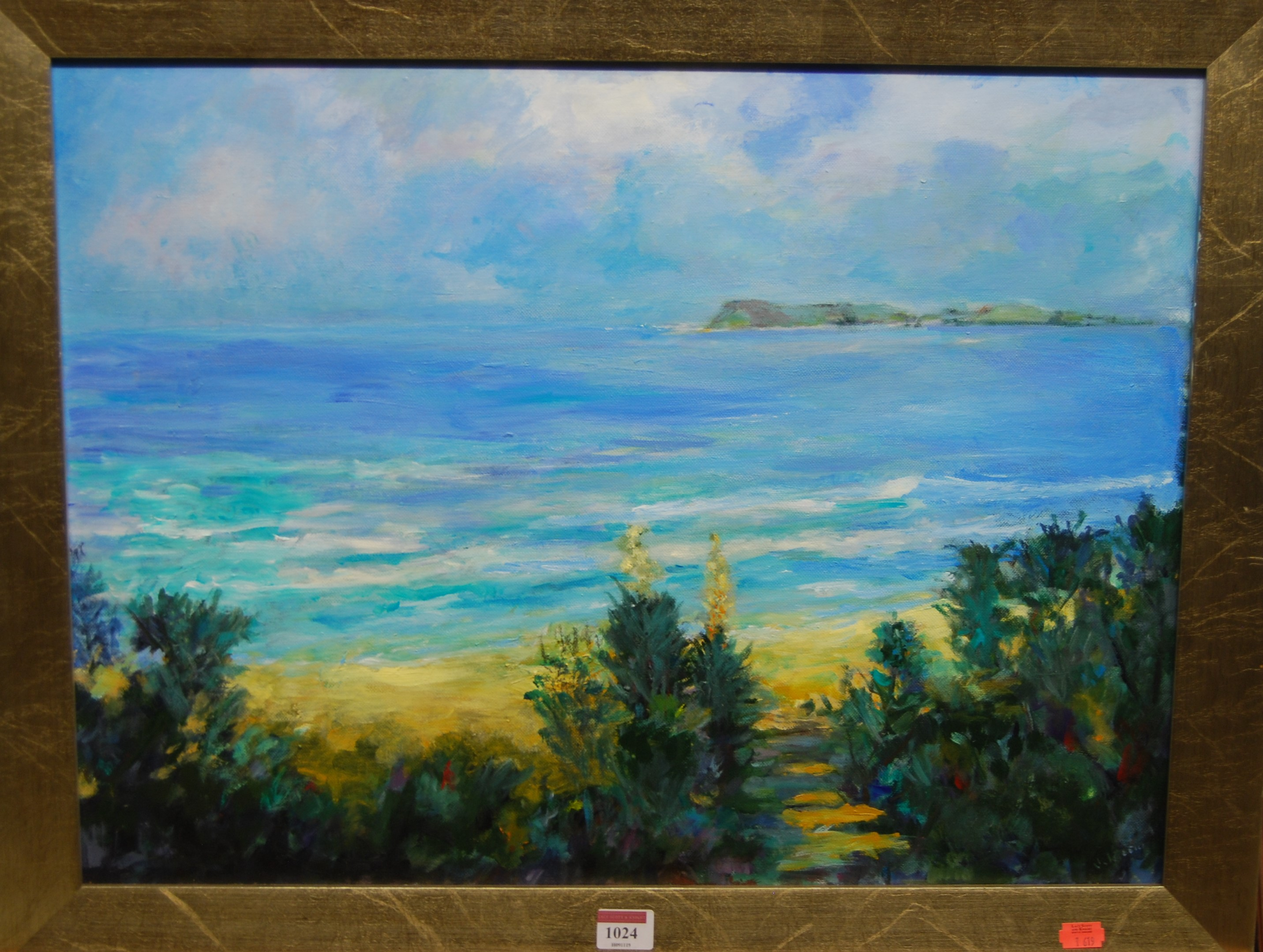 Lot 1024 - Contemporary school - Coastal scene, oil on canvas, indistinctly signed lower right, 45 x 60cm