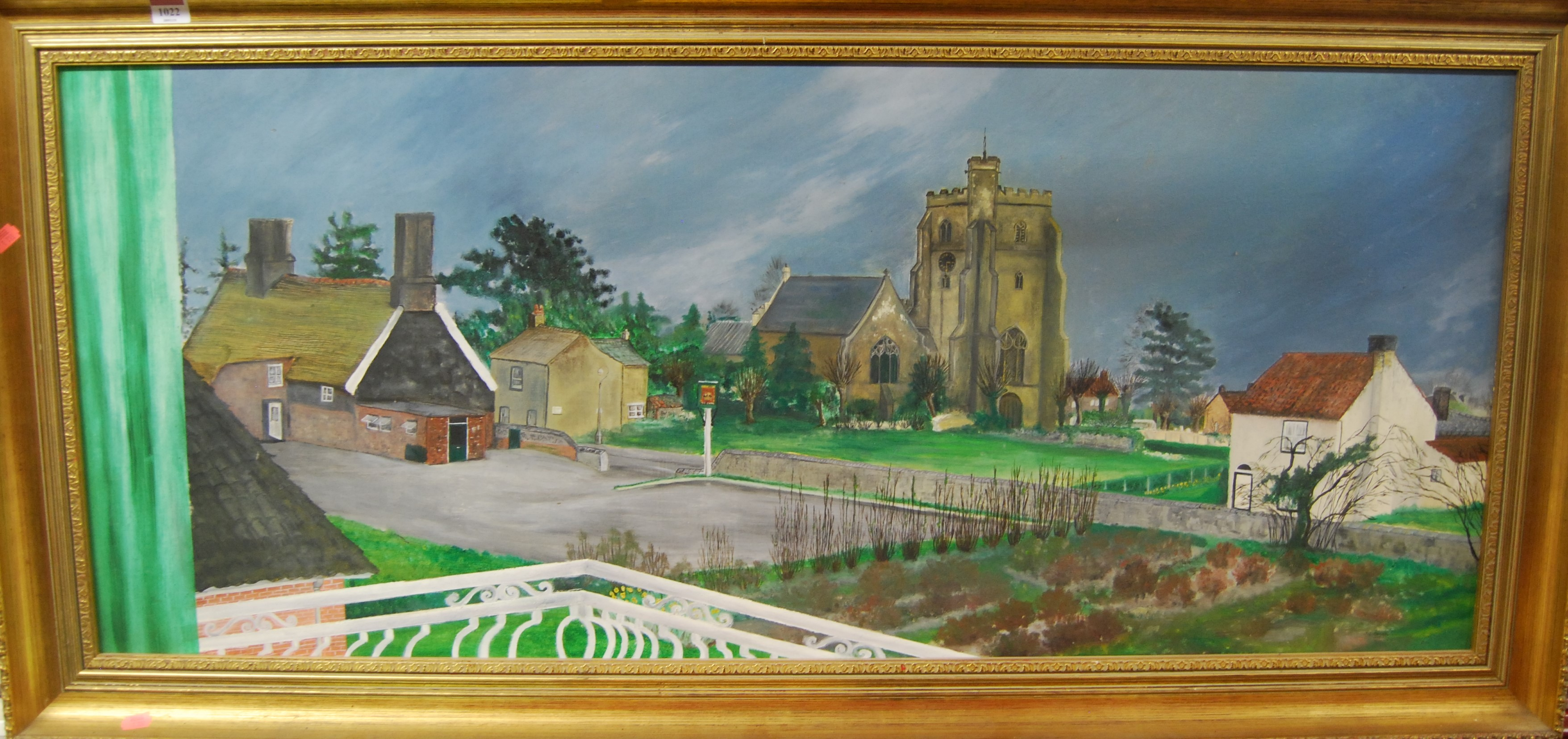 Lot 1022 - C.S. Caruso - The village church, acrylic on board, signed lower right, 50 x 120cm