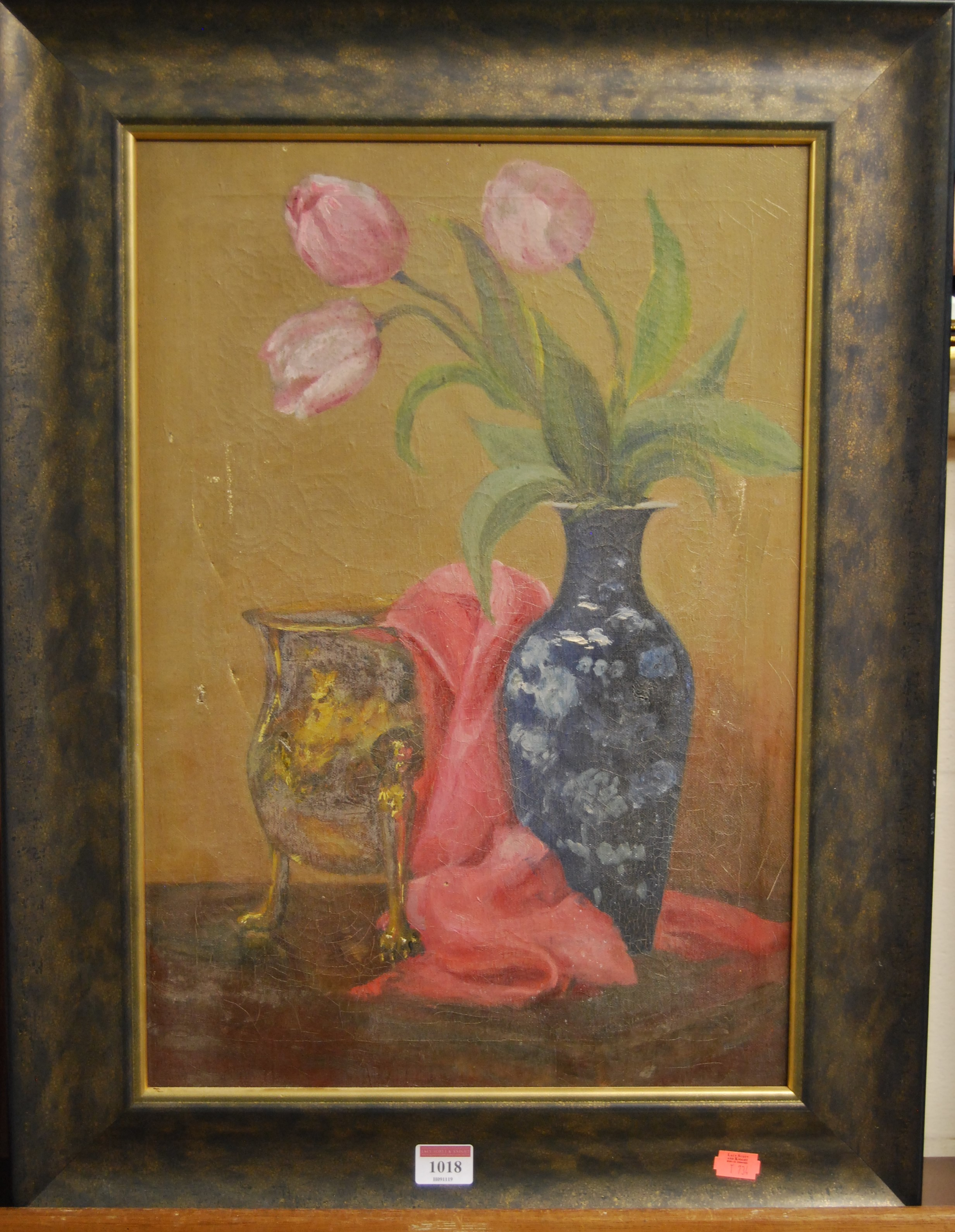 Lot 1018 - Late 20th century school - Still life with flowers in a vase, oil on canvas, 50 x 35cm