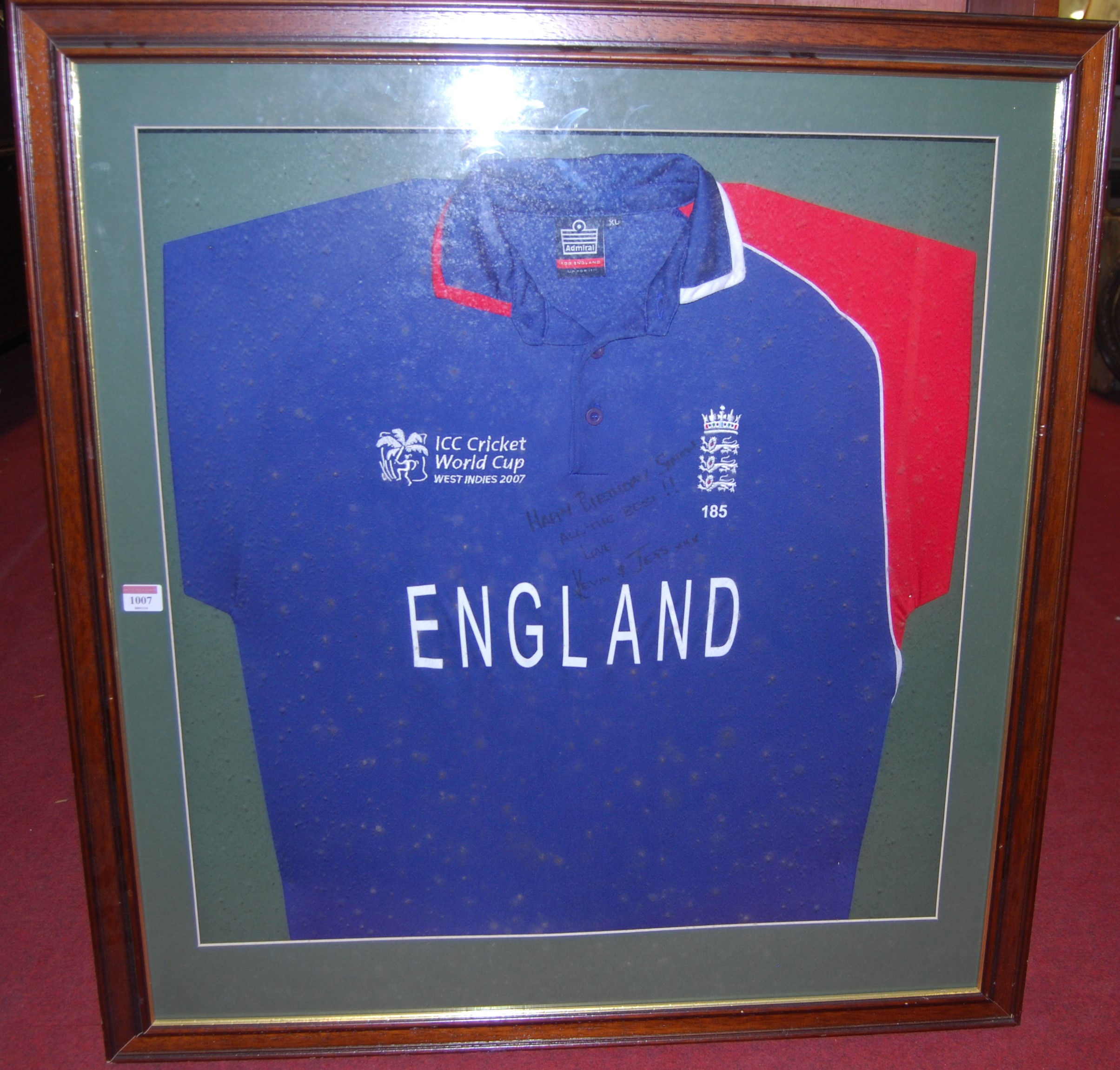 Lot 1007 - A framed England cricket shirt from the ICC Cricket World Cup held in the West Indies 2007,
