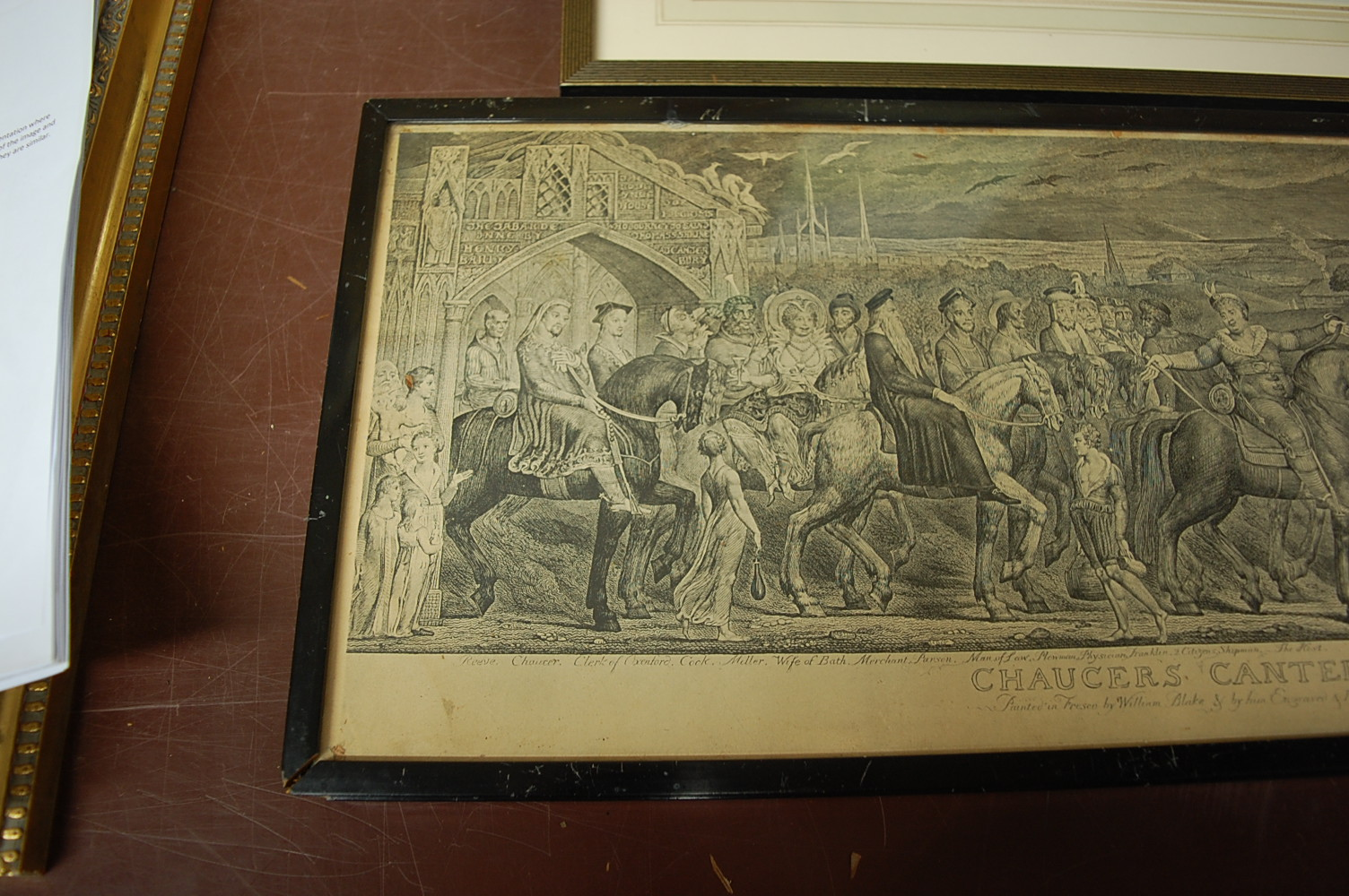 Lot 1032 - Chaucer's Canterbury Pilgrims monochrome print; one other depicting pilgrimage to