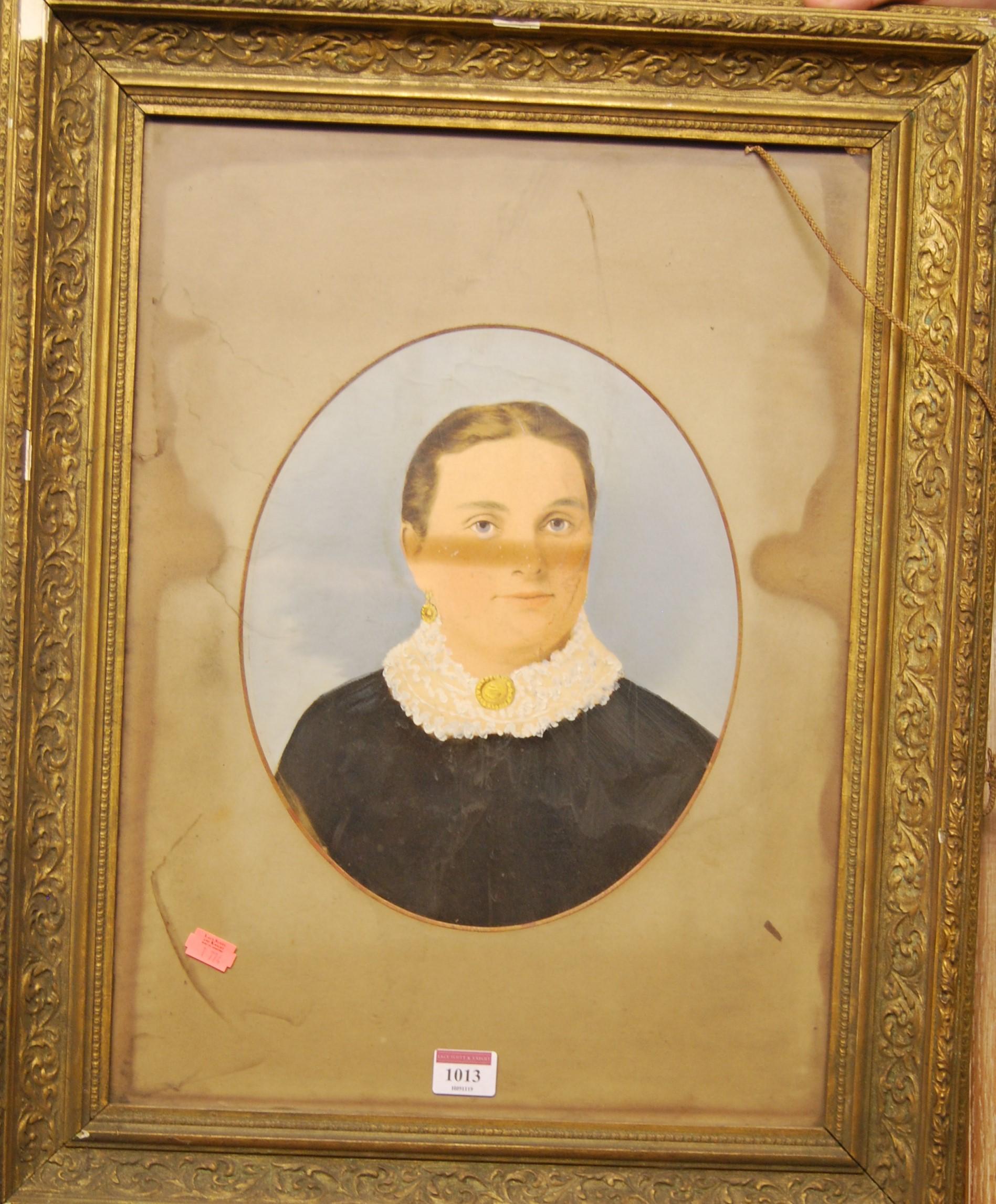Lot 1013 - A Victorian overpainted portrait photograph