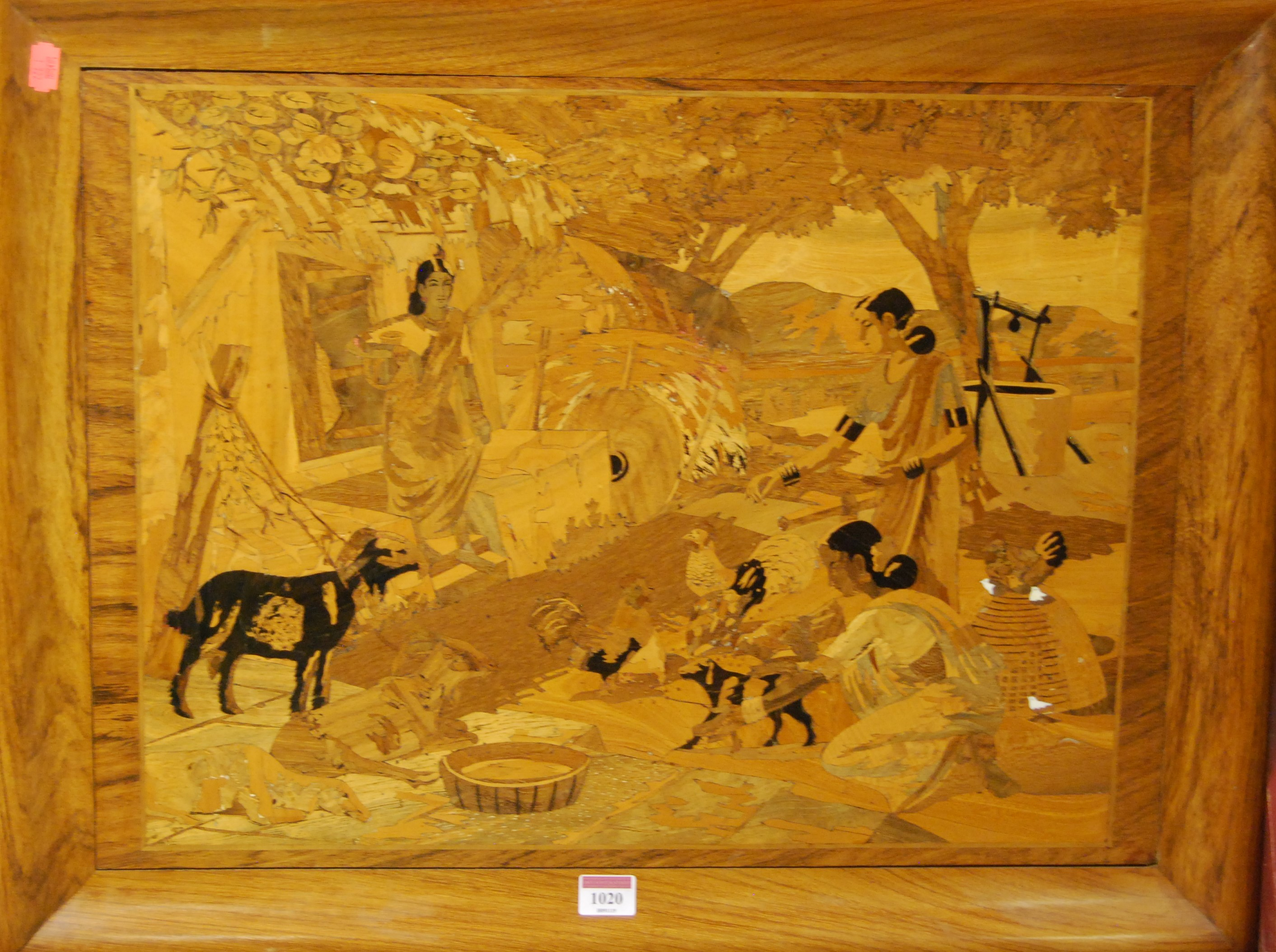 Lot 1020 - A walnut and marquetry panel depicting figures and livestock, late 20th century, full dimensions