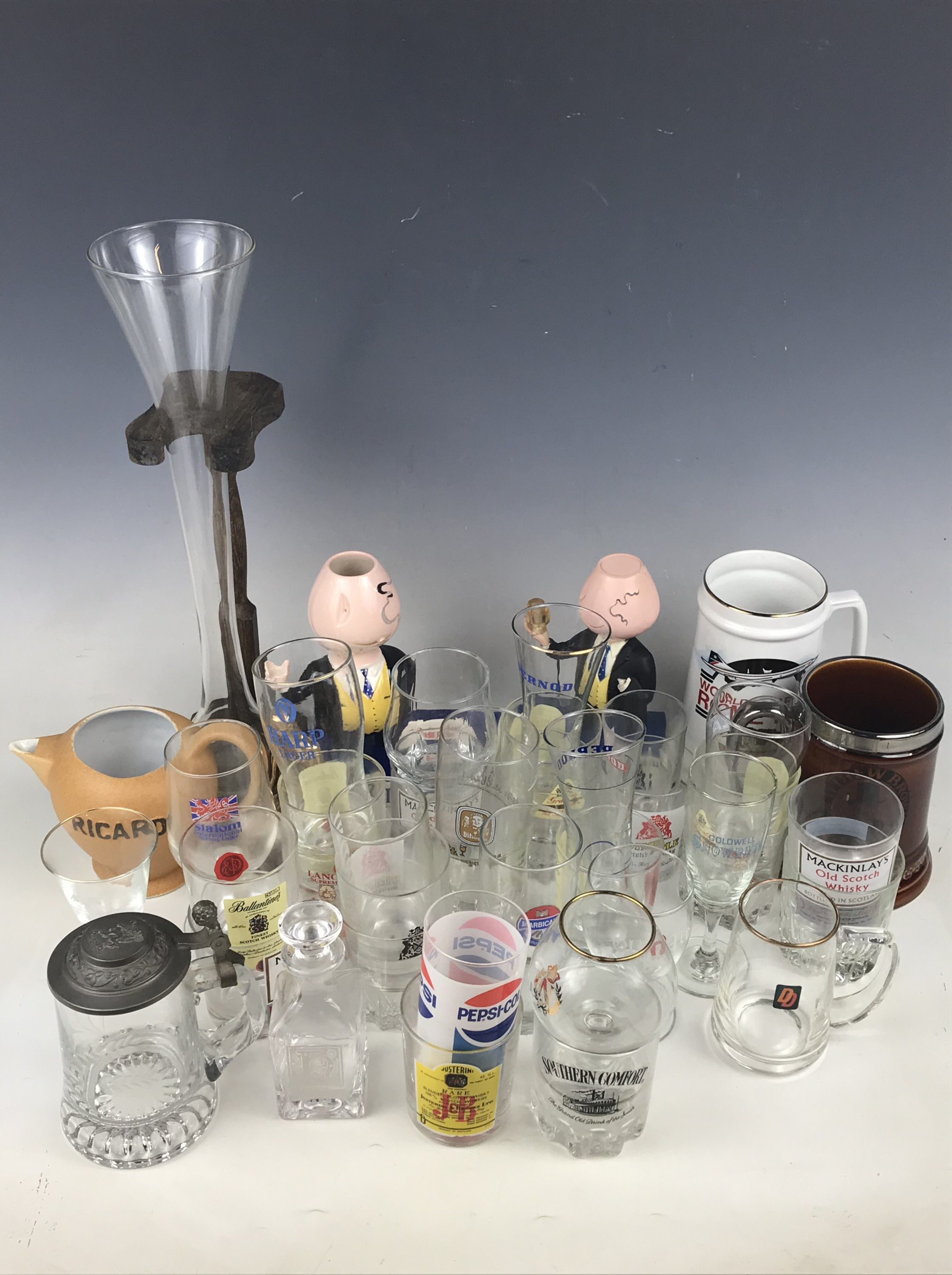Lot 4 - A quantity of breweriana including a Wade 1990 World Cup Rome final tankard, a Ricard water jug,