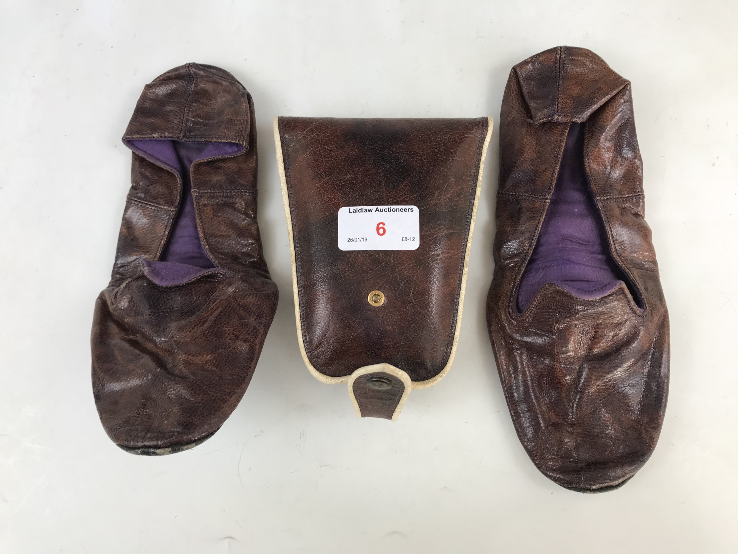 Lot 6 - A vintage pair of travel slippers