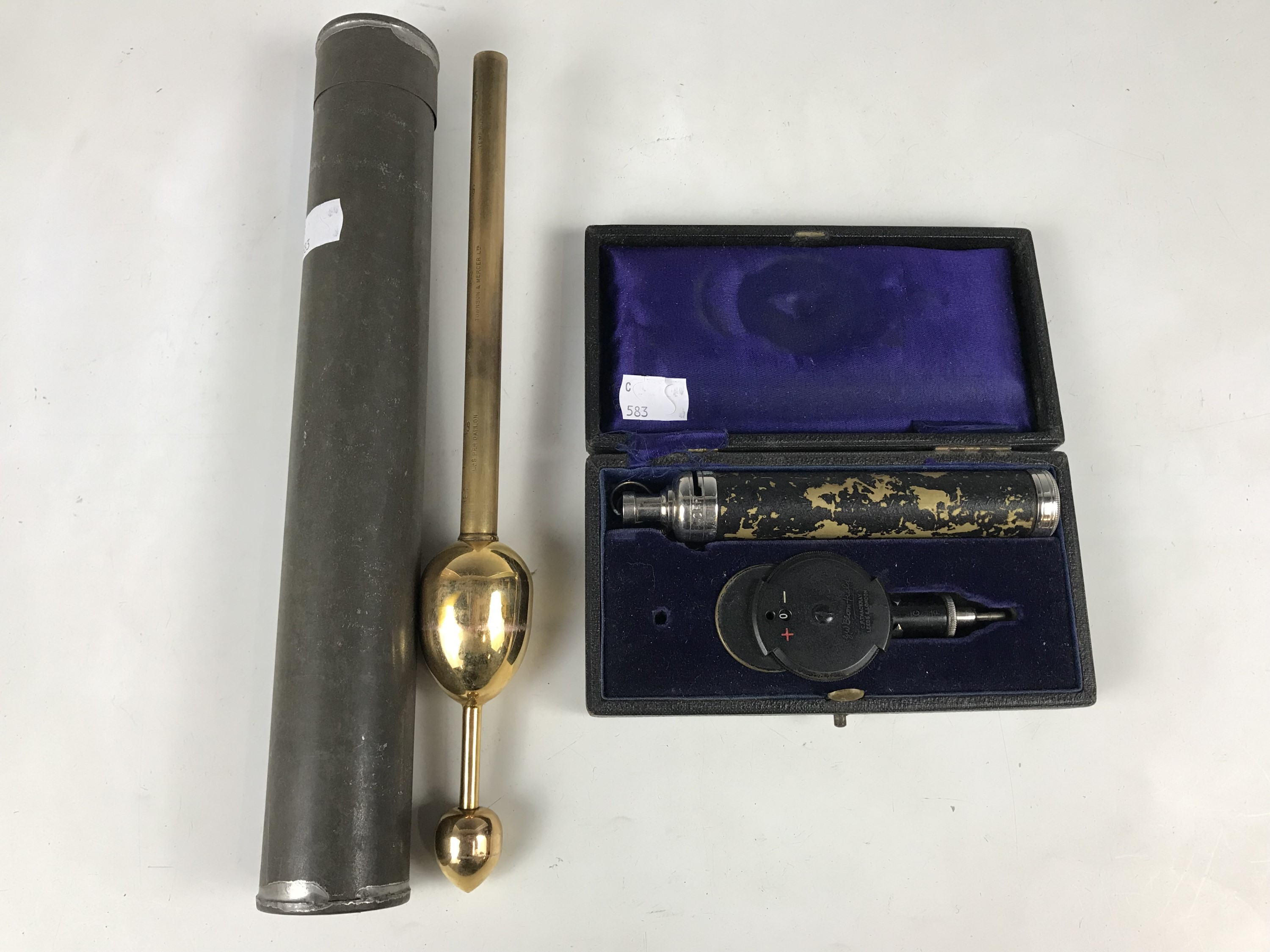 Lot 48 - A Townson & Mercer brass hydrometer together with an ophthalmoscope by C. F. Thackray of Leeds and