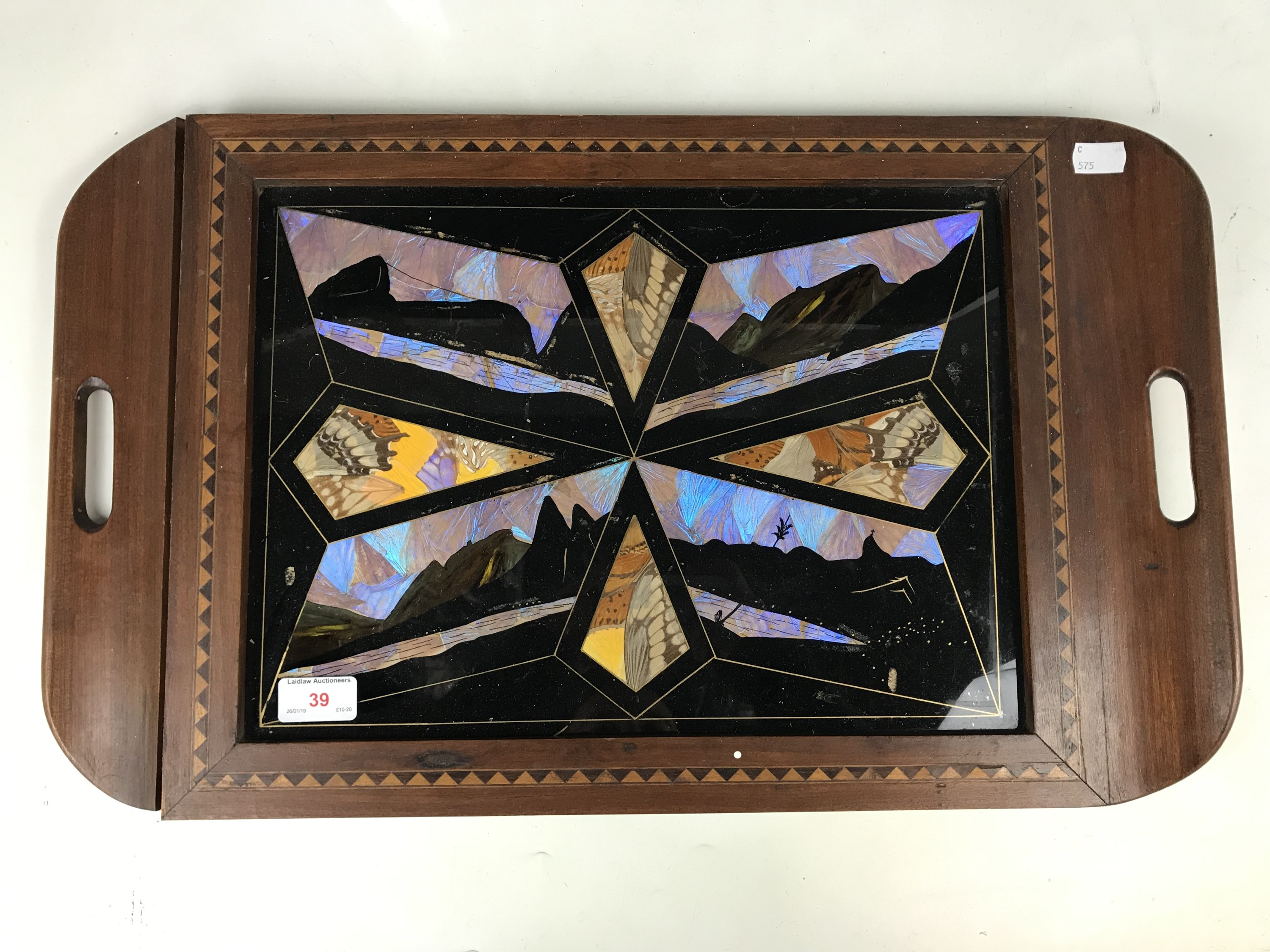 Lot 39 - A Brazilian butterfly wing tray, circa 1930s-1950s, (a/f)