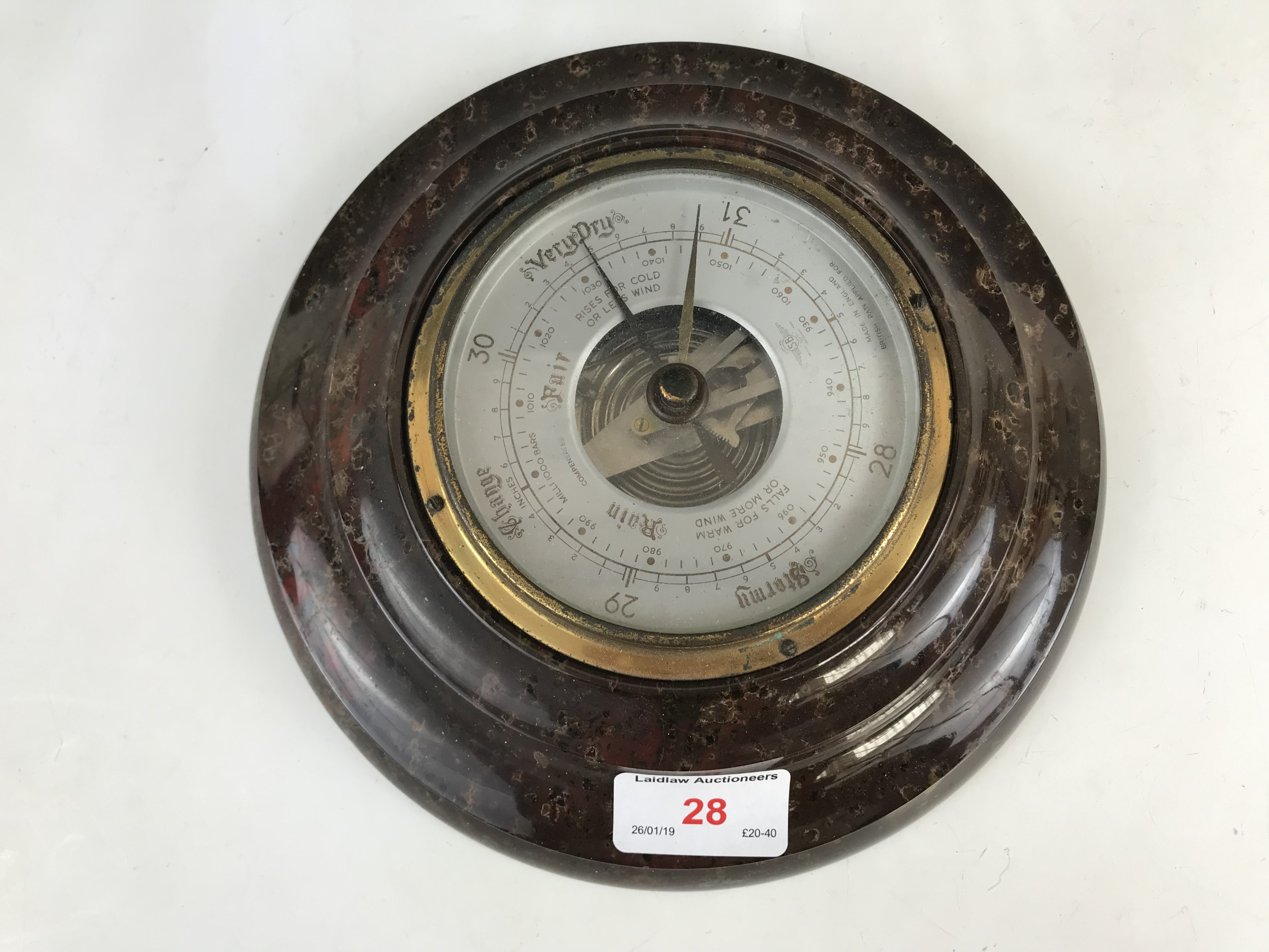 Lot 28 - A marble framed Shortland Smith aneroid barometer