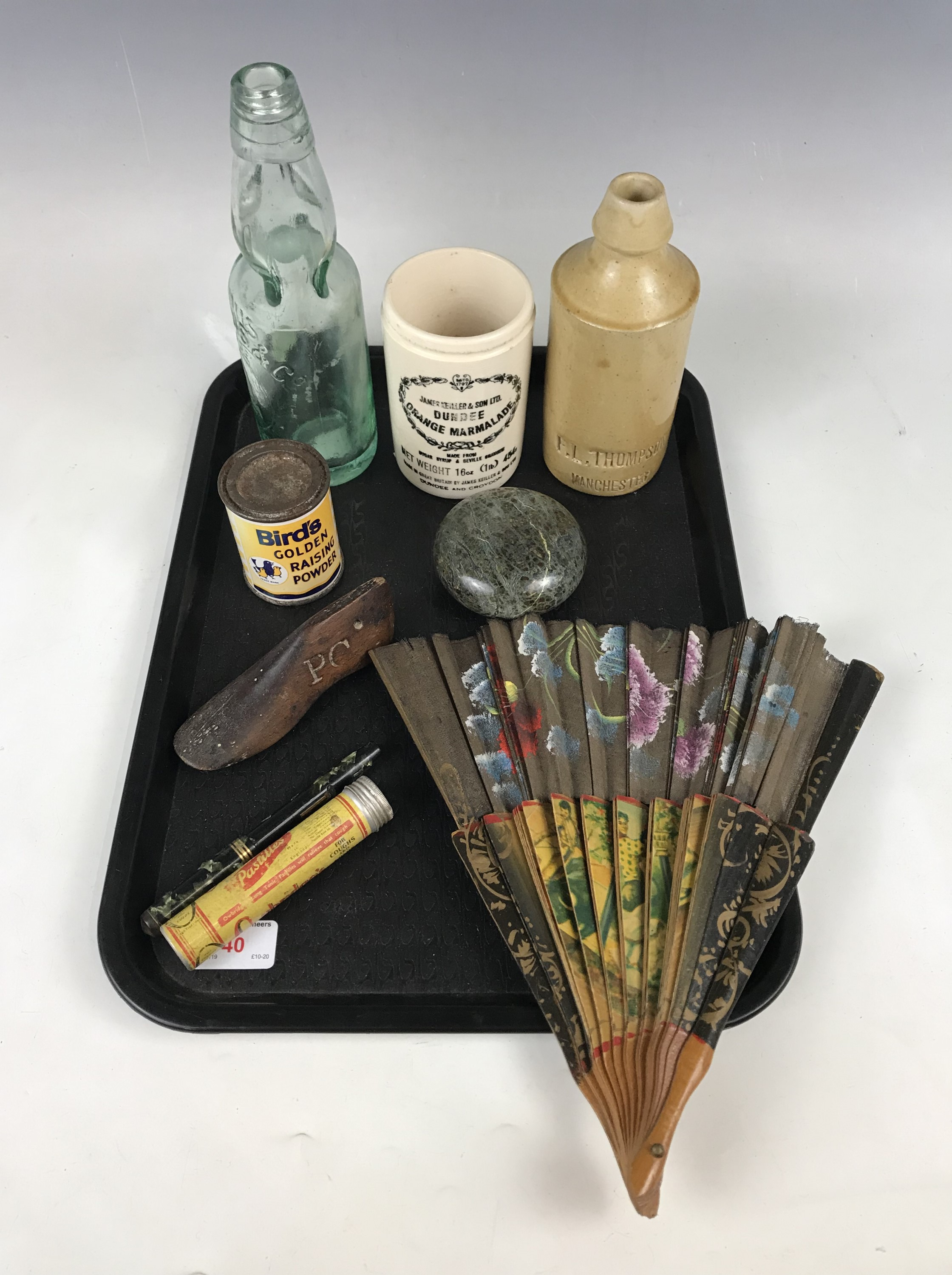 Lot 40 - Sundry collectors' items including a stoneware bottle, a fan, a fountain pen and a Victorian child's