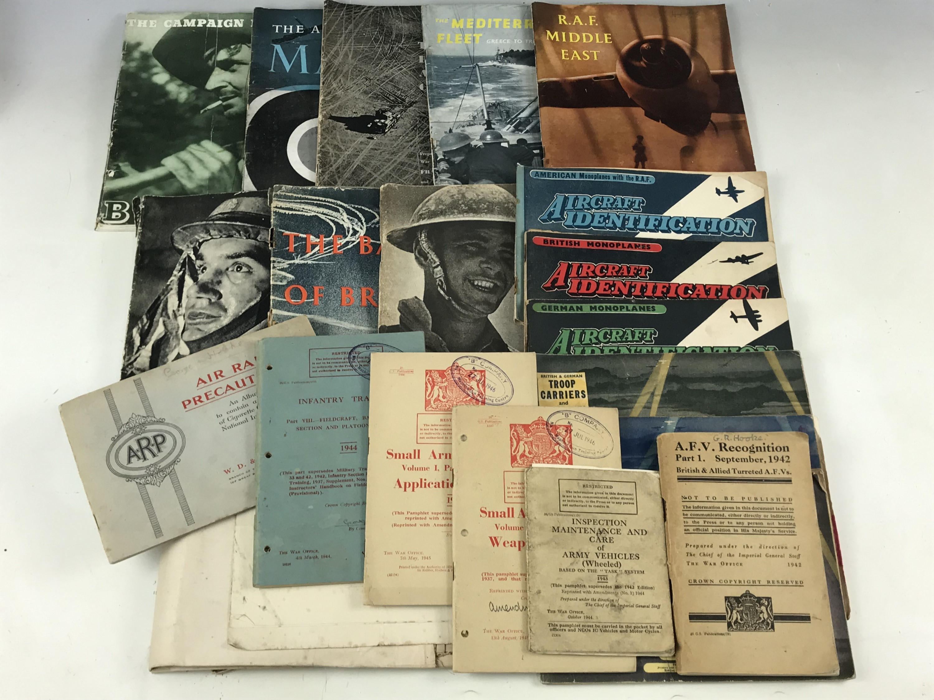 Lot 23 - A quantity of Second World War military training manuals, a Great War map, and aircraft