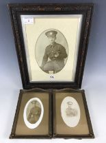 Lot 2 - Three period framed photographs of Great War Border Regiment soldiers, 20 x 14 cm, and a pair each