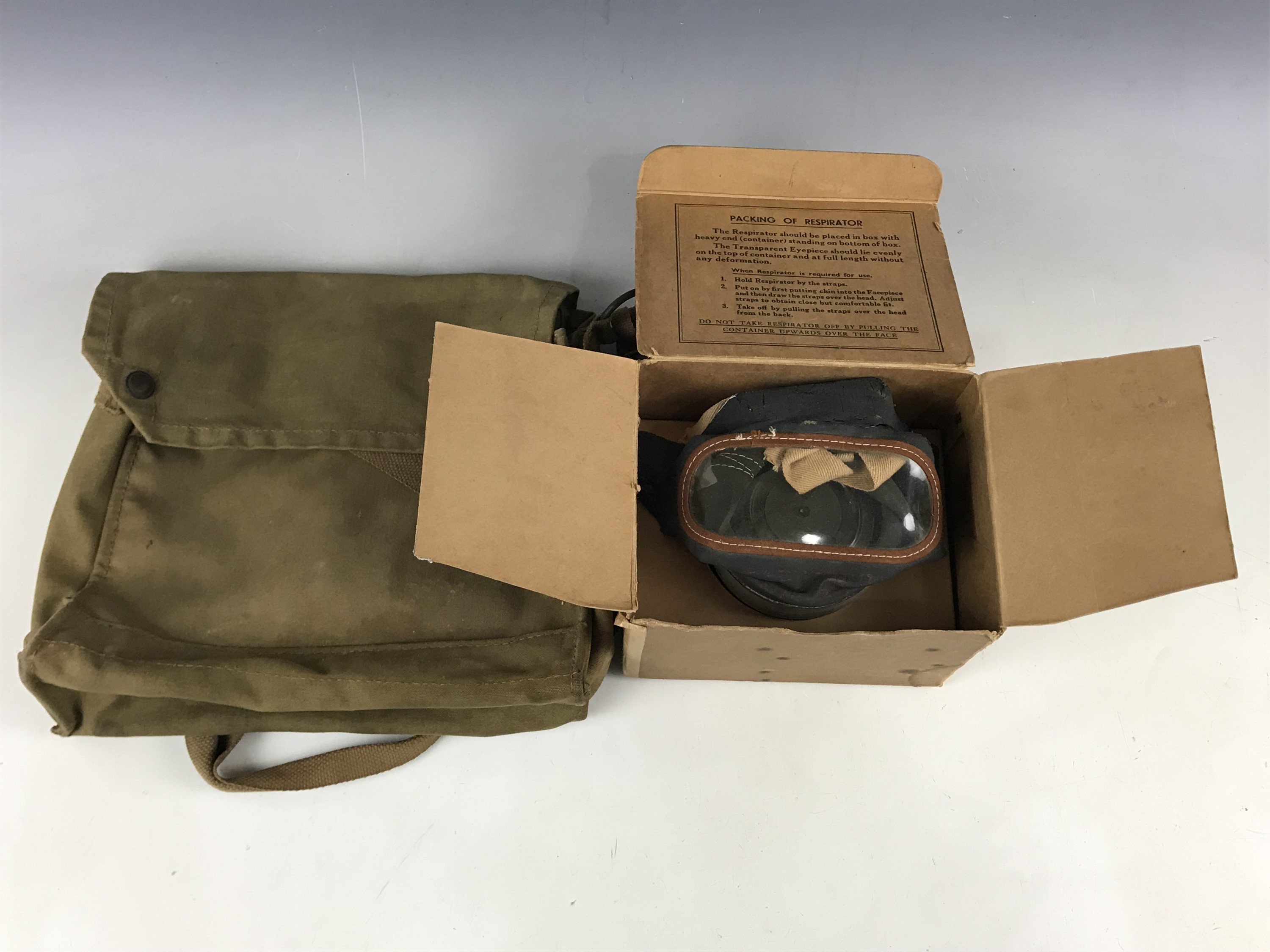 Lot 53 - A Second World War civilian gas mask and a General Service respirator haversack