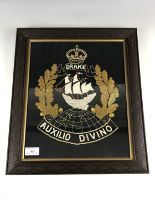 Lot 46 - A Great War Royal Navy Drake Battalion wool-work embroidery, framed under glass, 44 cm x 37 cm