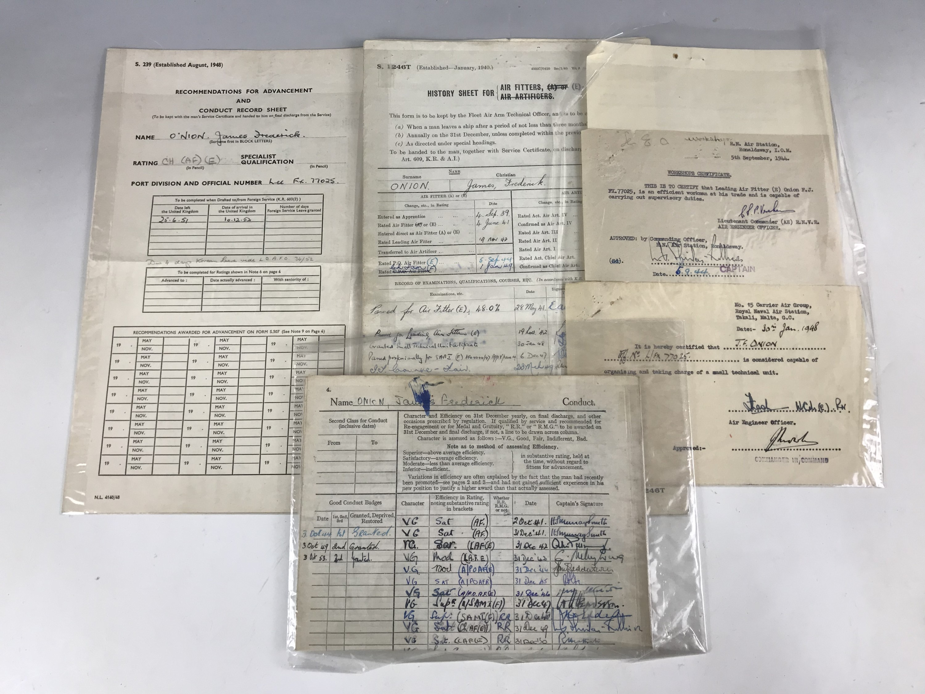 Lot 54 - A quantity of unrelated Royal Navy service documents etc