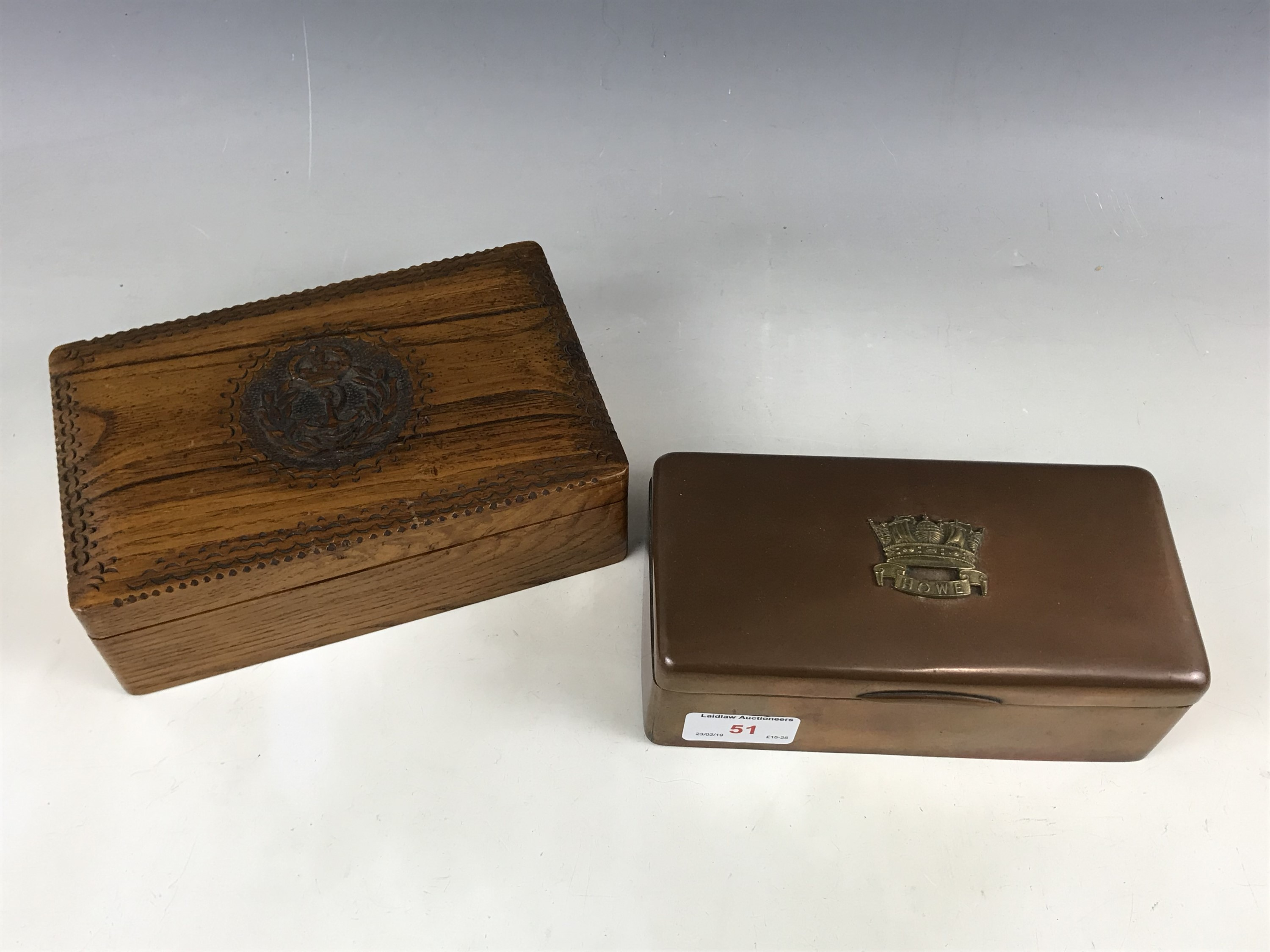 Lot 51 - A Great War Royal Navy Howe Battalion table cigarette box together with an oak cigarette box bearing