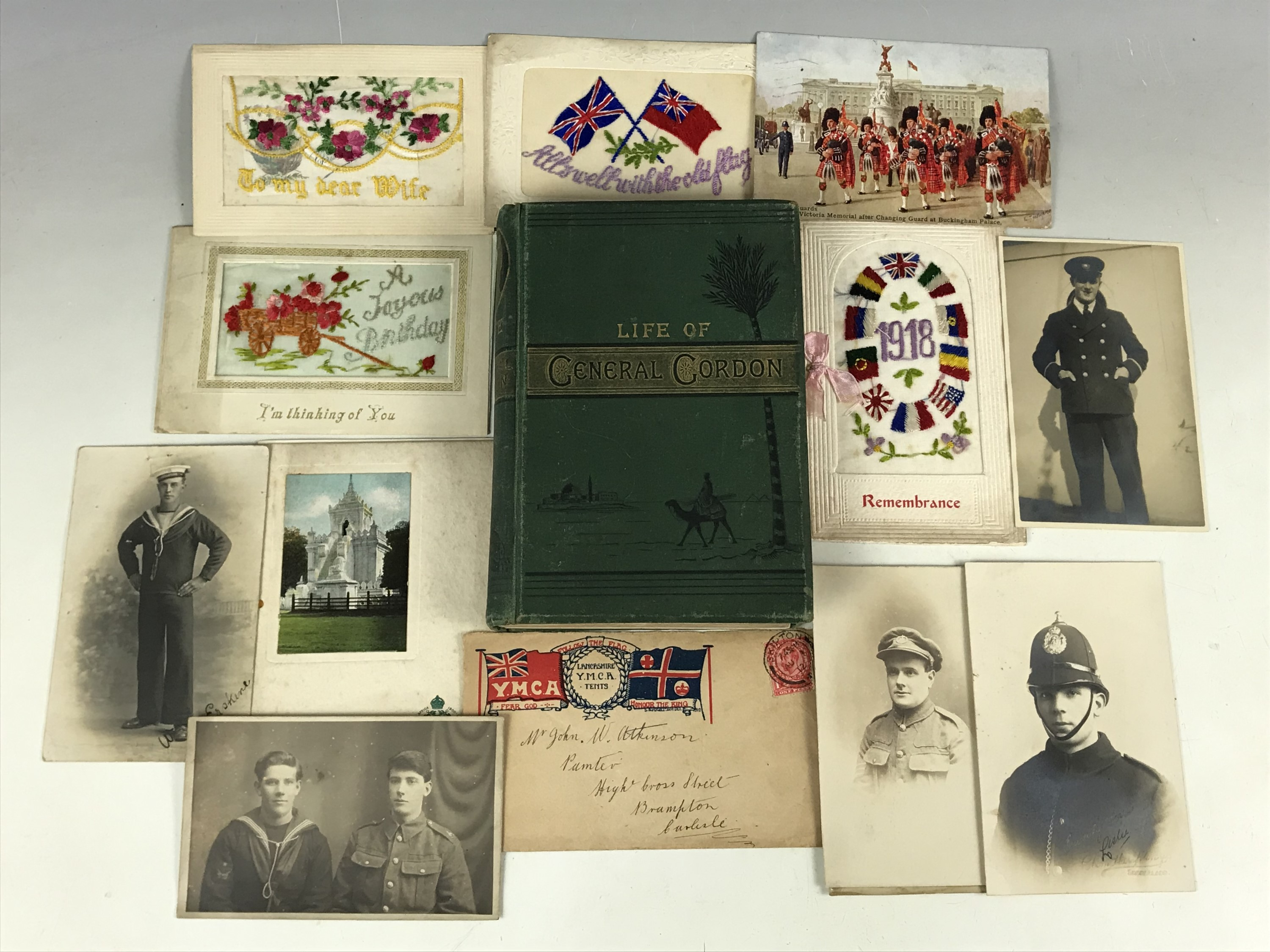 Lot 4 - Eva Hope, The Life of General Gordon, together with sundry First World War silk postcards and