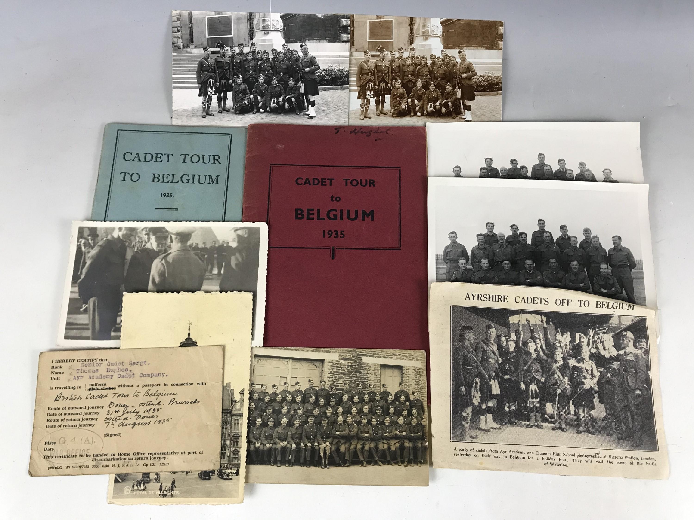 Lot 8 - Ephemera pertaining to the Cadet Tour to Belgium, 1935, including unit photographs, standing orders,