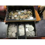Lot 1117 - Cash box containing a large quantity of foreign and Great Britain coinage