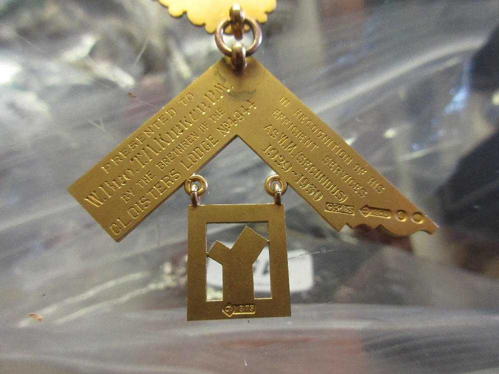 Lot 1118 - Group of three 9ct yellow gold Masonic medallions on ribbons Secundus medal - all parts full