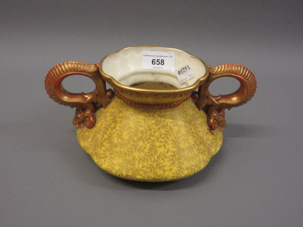 Lot 658 - Royal Worcester floral decorated on yellow ground vase with gilded ram's head handles