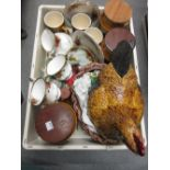 Lot 659 - Large pottery chicken tureen, quantity of Hornsea pottery containers and a quantity of other