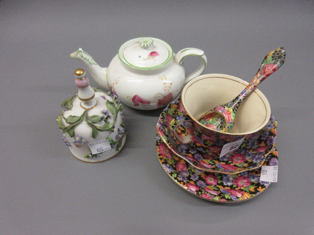 Lot 824 - Royal Winton Majestic chintz pattern cup, saucer, sugar bowl and shovel together with a late Meissen