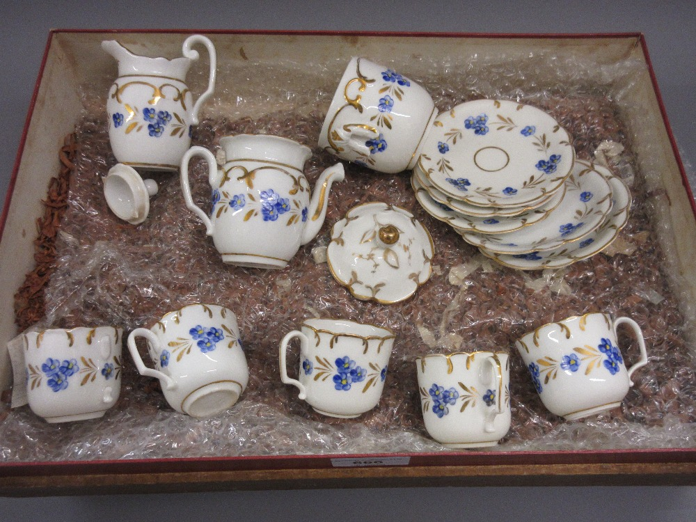 Lot 666 - 19th Century Continental porcelain part coffee service painted with blue flowers 5 cups (1 handle