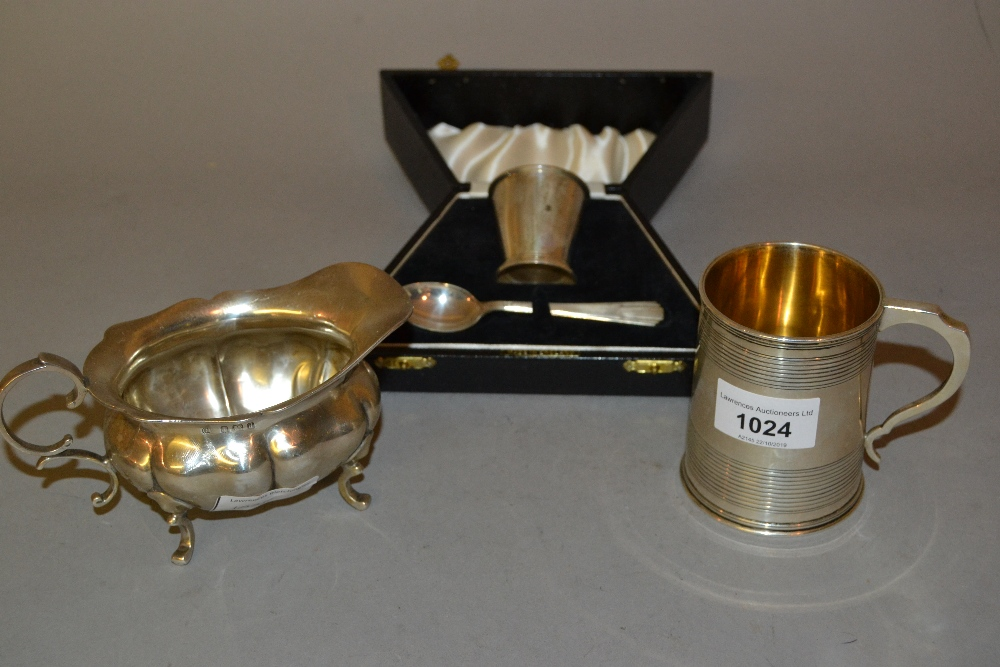 Lot 1024 - Late Victorian silver Christening mug in 18th Century style engraved with the initials A.S.,