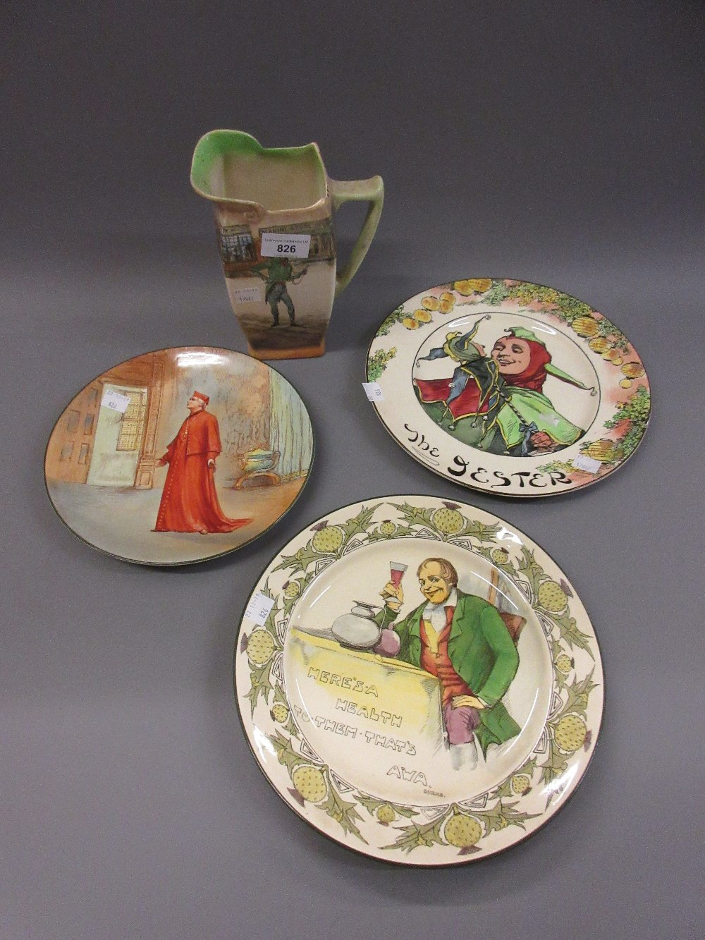 Lot 826 - Royal Doulton Dickensware jug, Alfred Jingle, a Seriesware plate Wolsey, and two other Royal Doulton