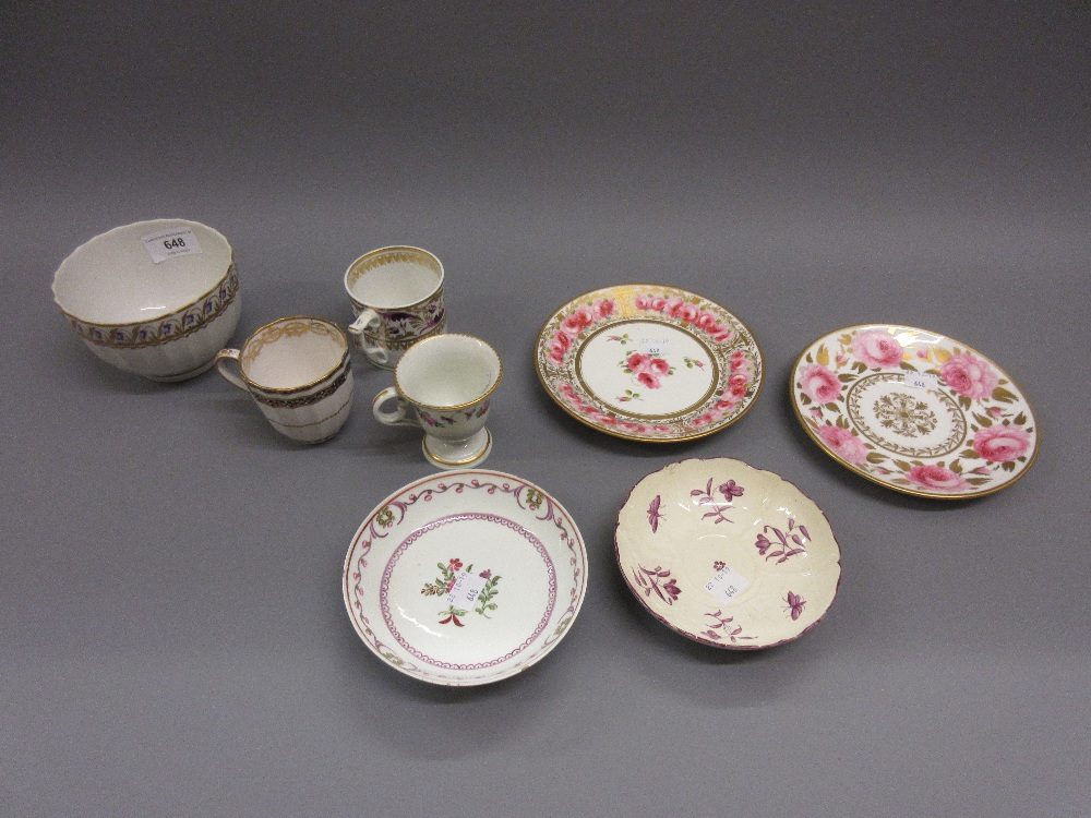 Lot 648 - Three various Derby cups, a small Derby bowl and four various 19th Century English saucers Mauve and