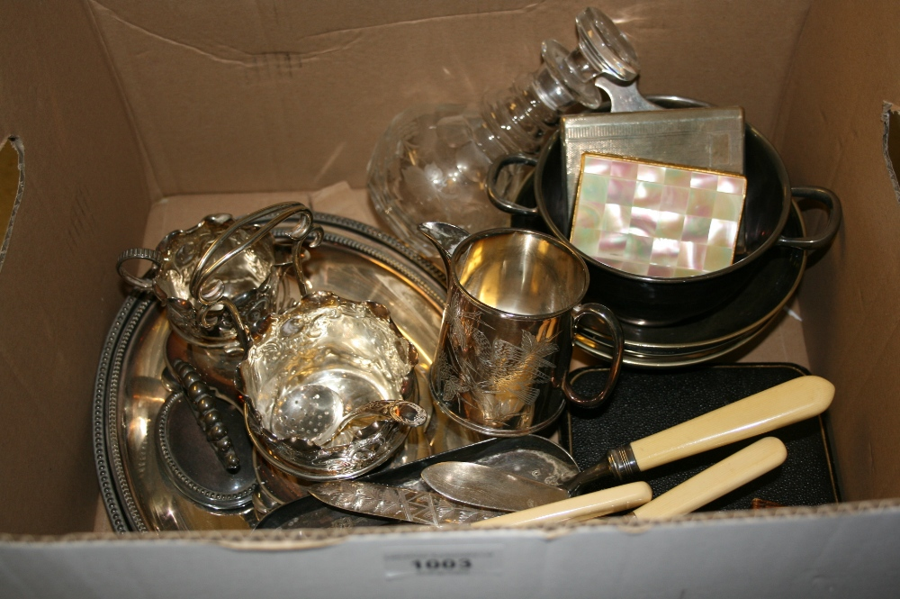 Lot 1003 - Oval silver plated entree dish, silver plated cream jug and sugar stand, together with other