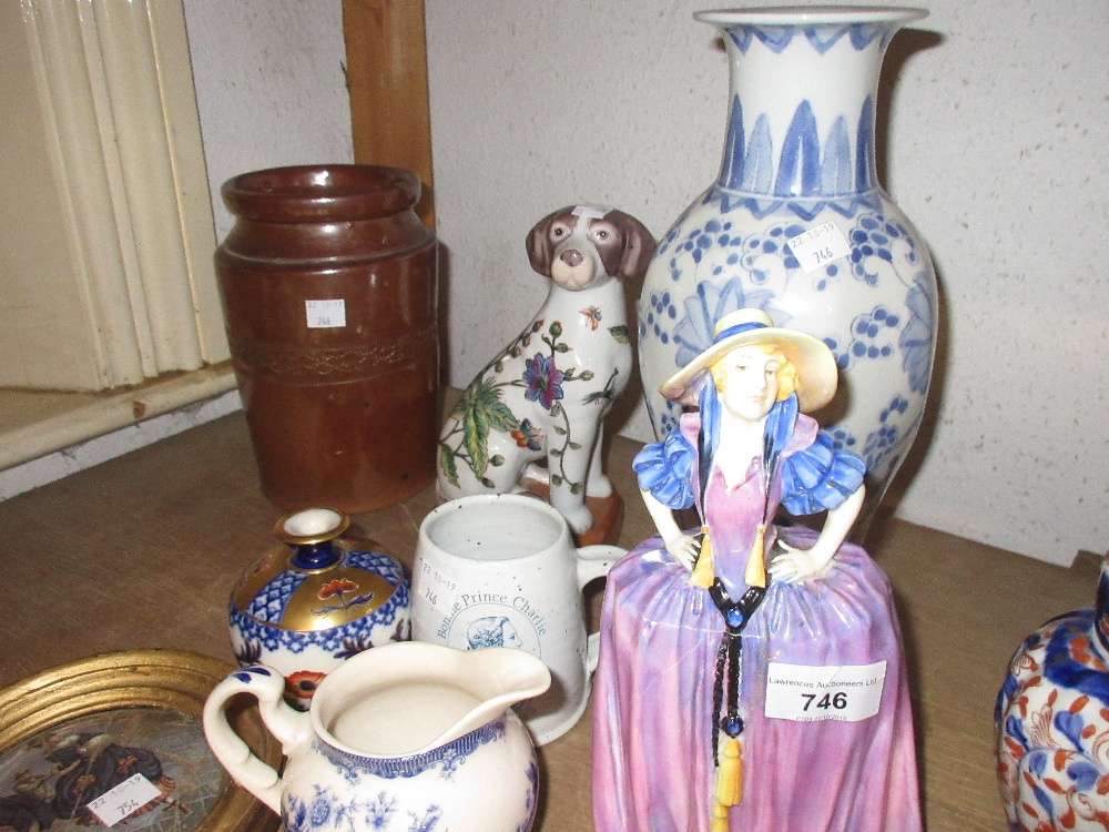 Lot 746 - Royal Doulton figure ' Patricia ' (at fault), a Powell Craft floral decorated cream jug and sucrier,