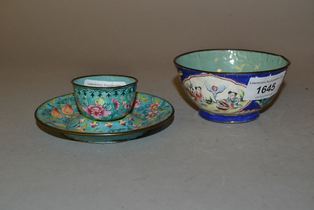 Lot 1645 - Canton enamel floral decorated cup with saucer and another Canton enamel bowl with floral decoration