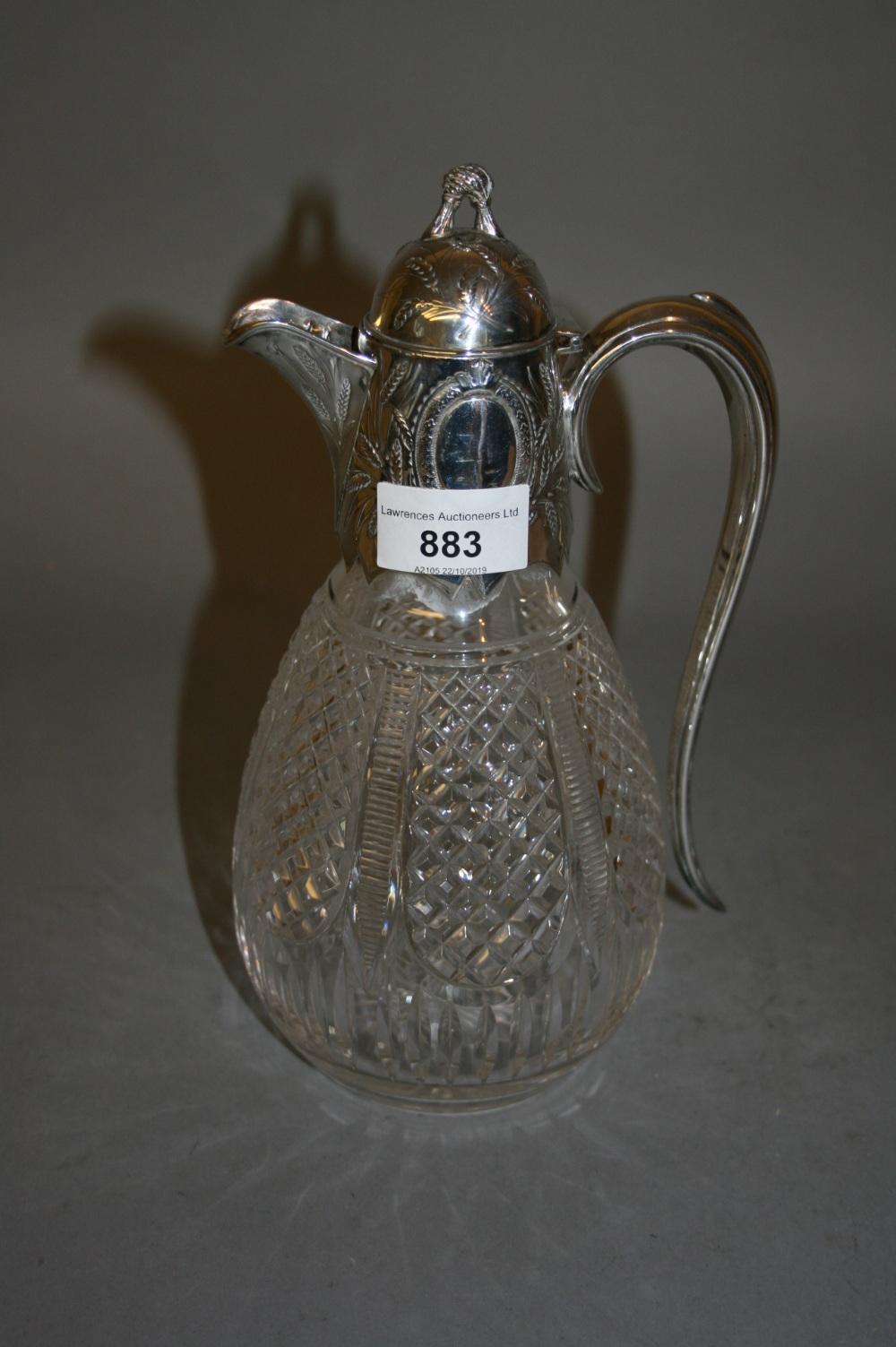 Lot 883 - Victorian silver mounted cut glass claret jug, Birmingham, 1877