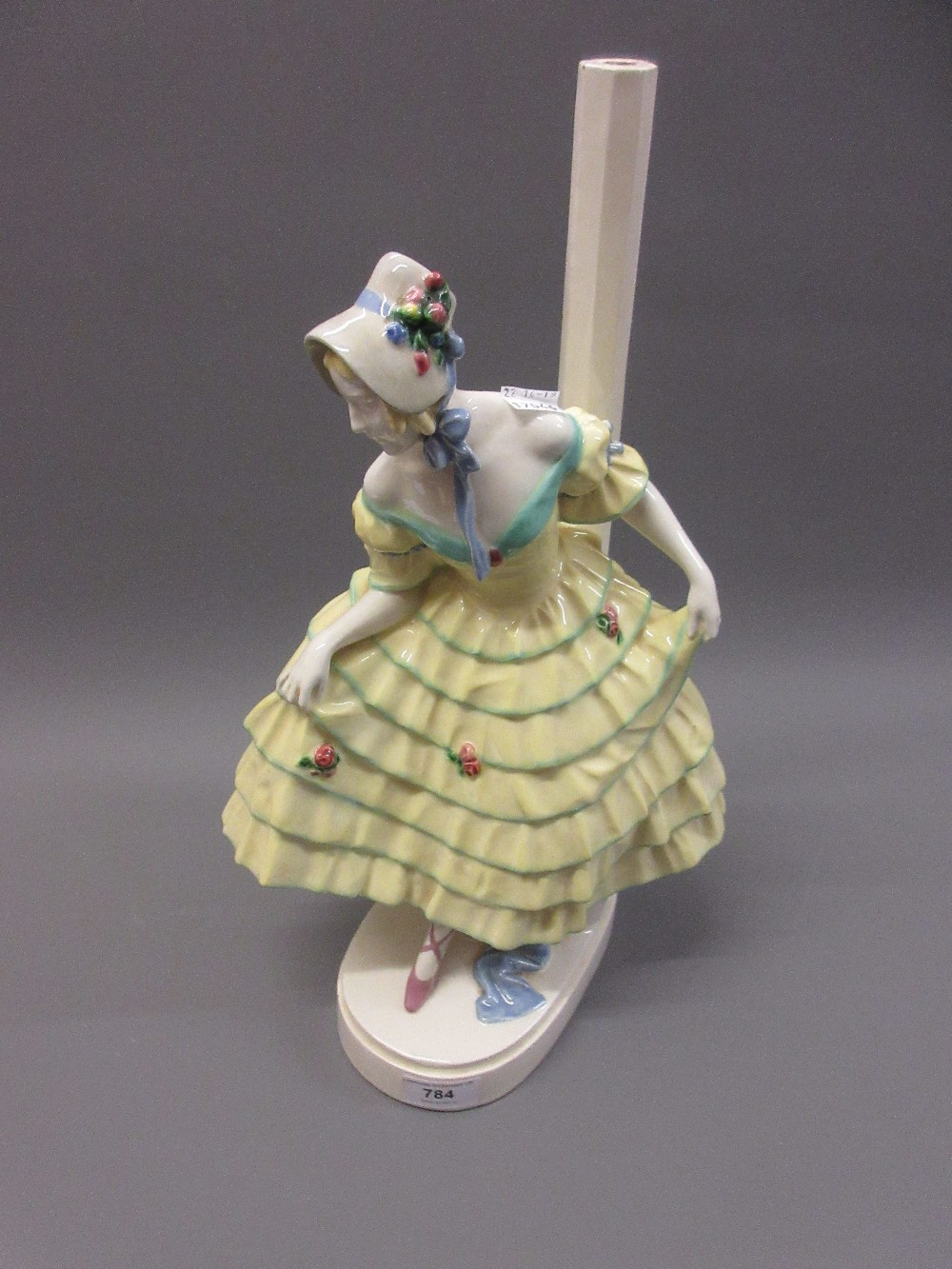 Lot 784 - Keramos Austrian pottery figural table lamp Small paint loss to top of lamp column, otherwise good