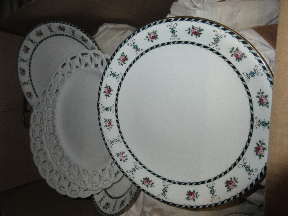 Lot 722 - Set of four Minton white glazed plates with pierced borders, together with an early 20th Century