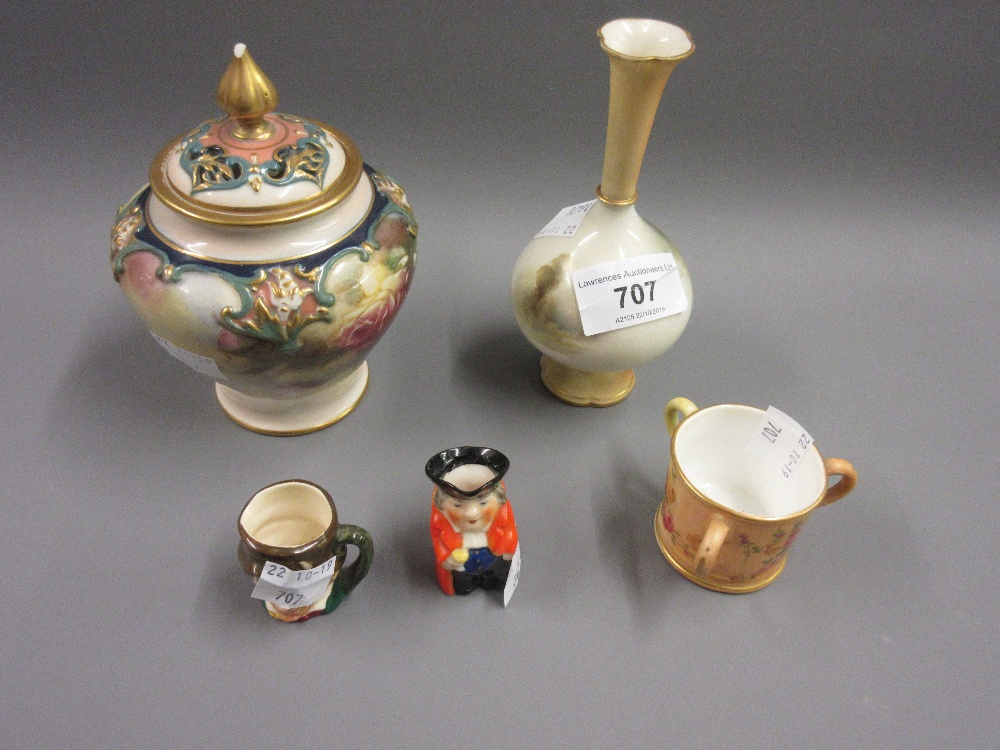 Lot 707 - Royal Worcester small baluster form porcelain vase painted with pheasants in a landscape, signed