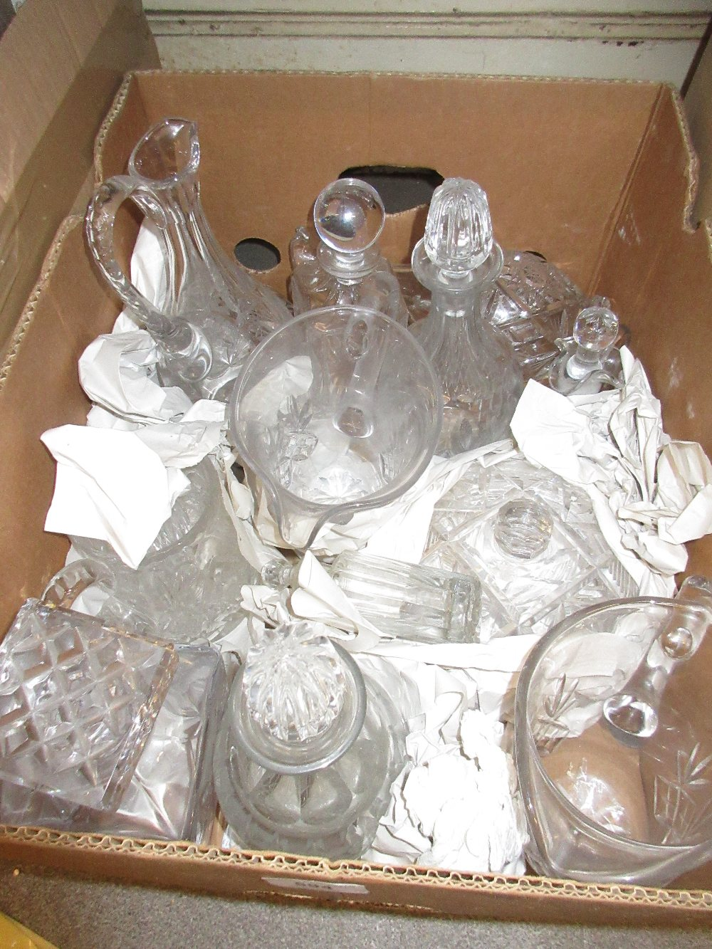 Lot 594 - Pair of cut glass jug decanters with stoppers together with a quantity of other decanters etc