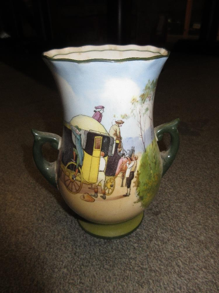 Lot 834 - Royal Doulton coaching pattern oviform vase, seven other similar vases, and a cup and saucer (some