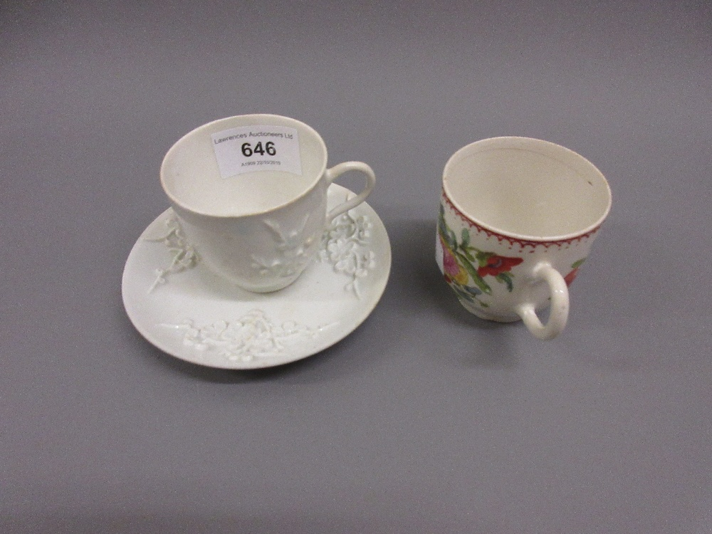 Lot 646 - Bow white glazed and relief decorated coffee cup and saucer (restored), together with a bow cup