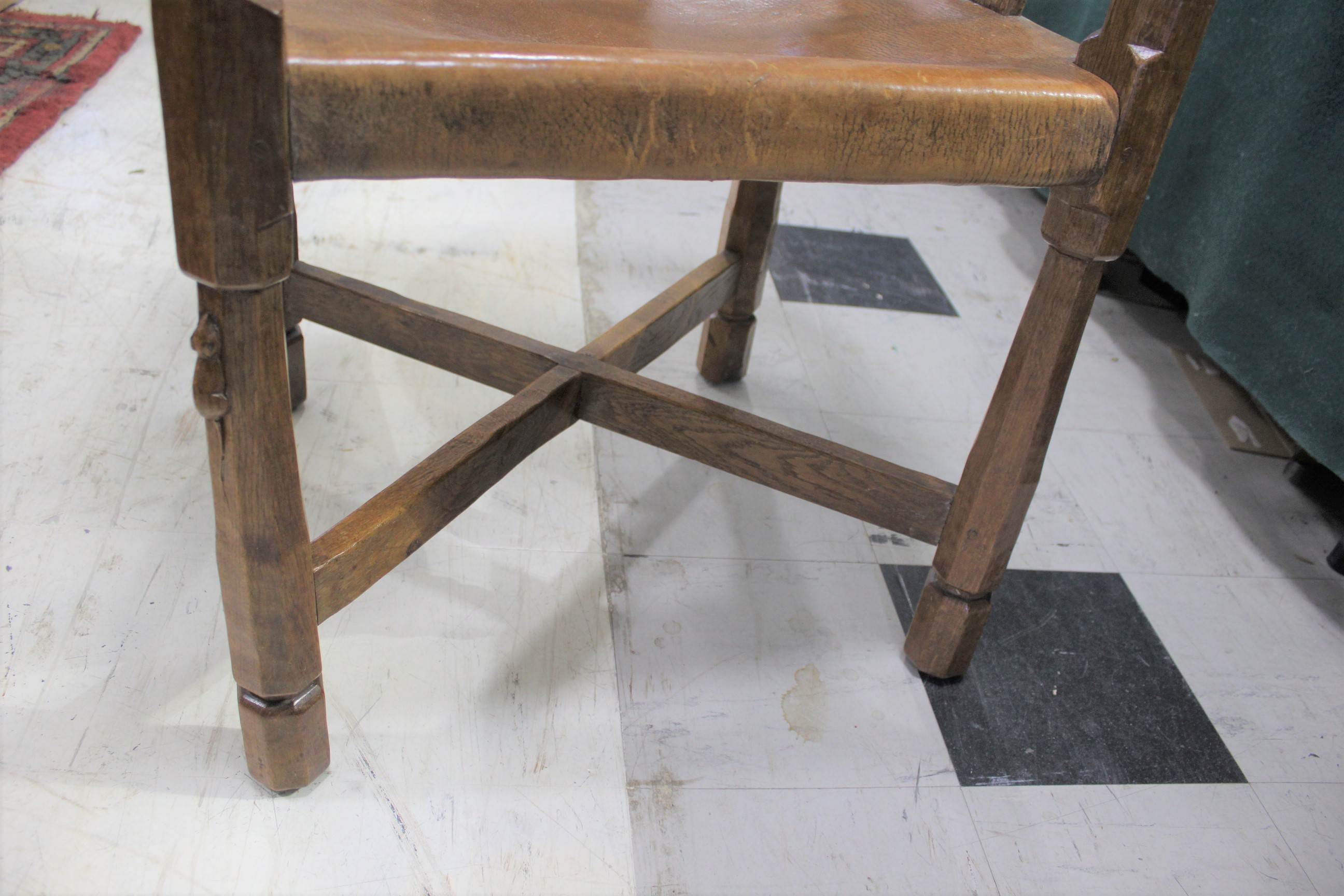 ROBERT THOMPSON OF KILBURN - MOUSEMAN MONKS CHAIR a circa 1920s/1930s oak Monk's armchair with a - Image 21 of 27