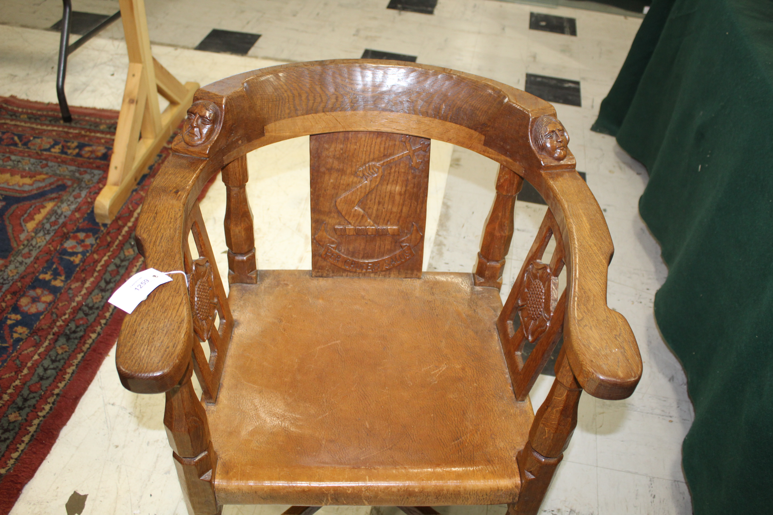 ROBERT THOMPSON OF KILBURN - MOUSEMAN MONKS CHAIR a circa 1920s/1930s oak Monk's armchair with a - Image 20 of 27