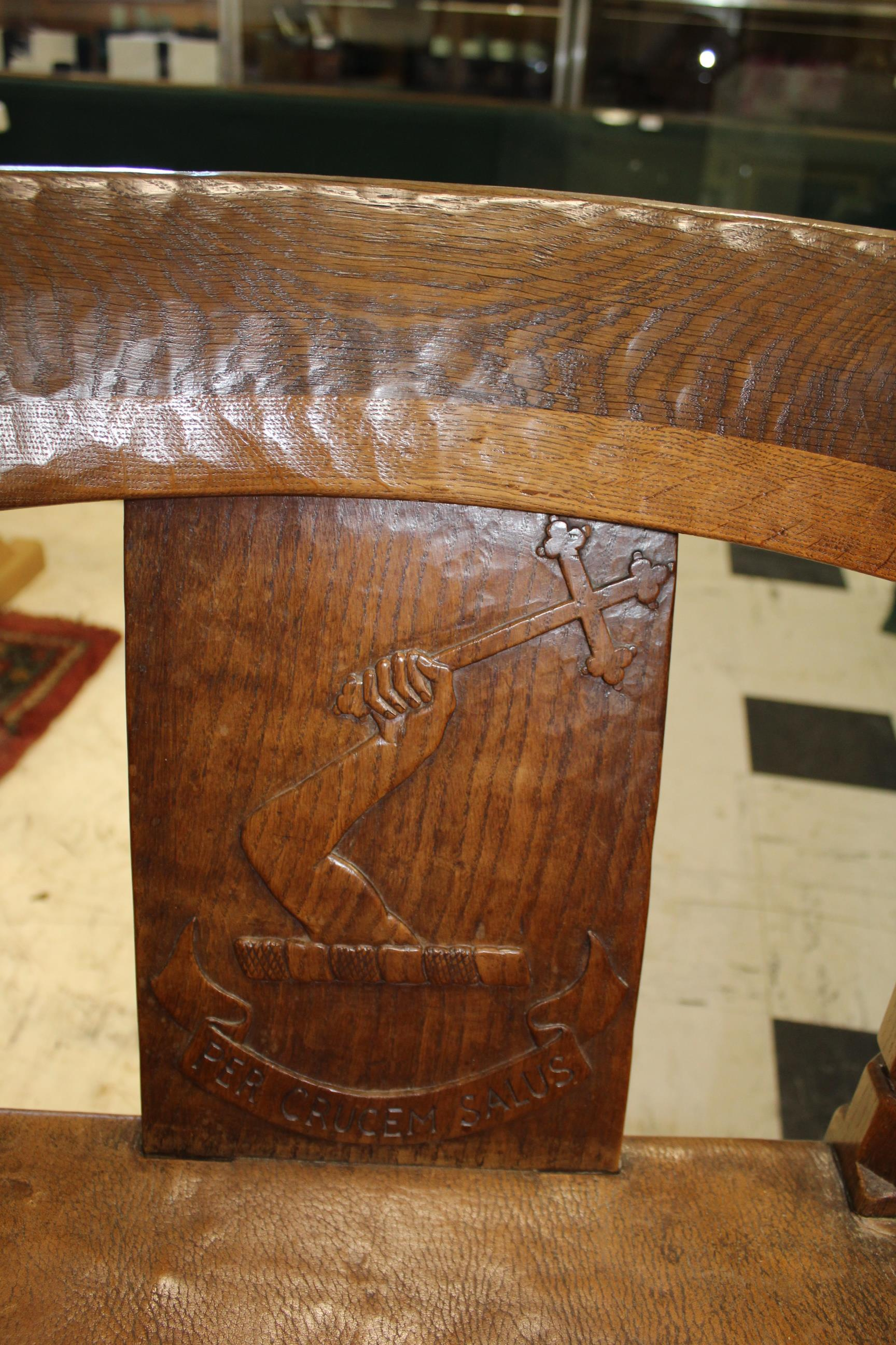 ROBERT THOMPSON OF KILBURN - MOUSEMAN MONKS CHAIR a circa 1920s/1930s oak Monk's armchair with a - Image 17 of 27