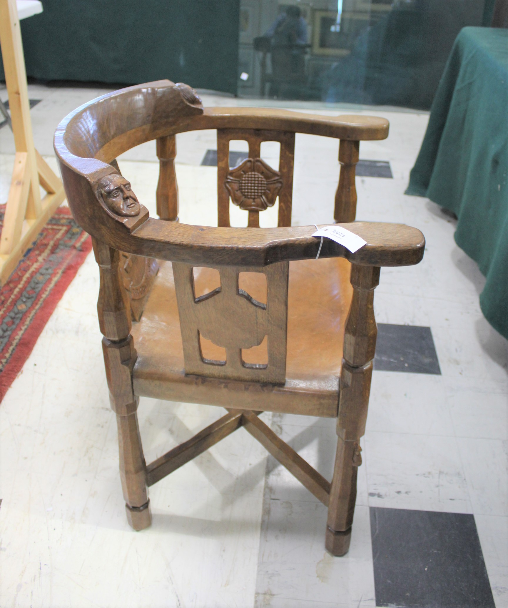 ROBERT THOMPSON OF KILBURN - MOUSEMAN MONKS CHAIR a circa 1920s/1930s oak Monk's armchair with a - Image 22 of 27