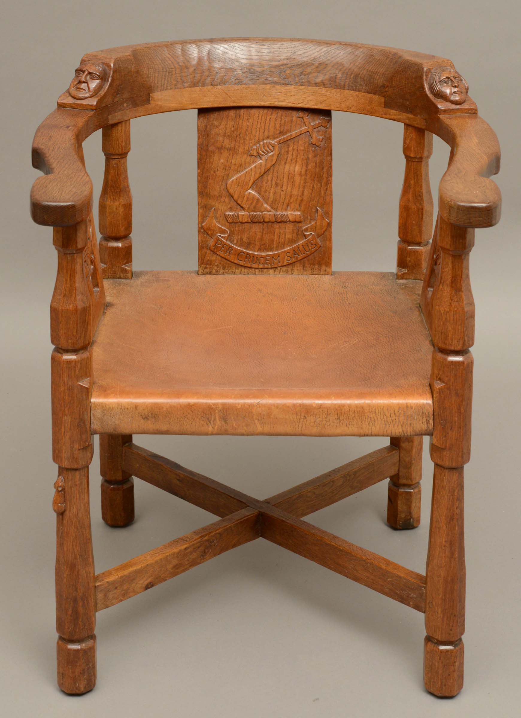 ROBERT THOMPSON OF KILBURN - MOUSEMAN MONKS CHAIR a circa 1920s/1930s oak Monk's armchair with a - Image 3 of 27