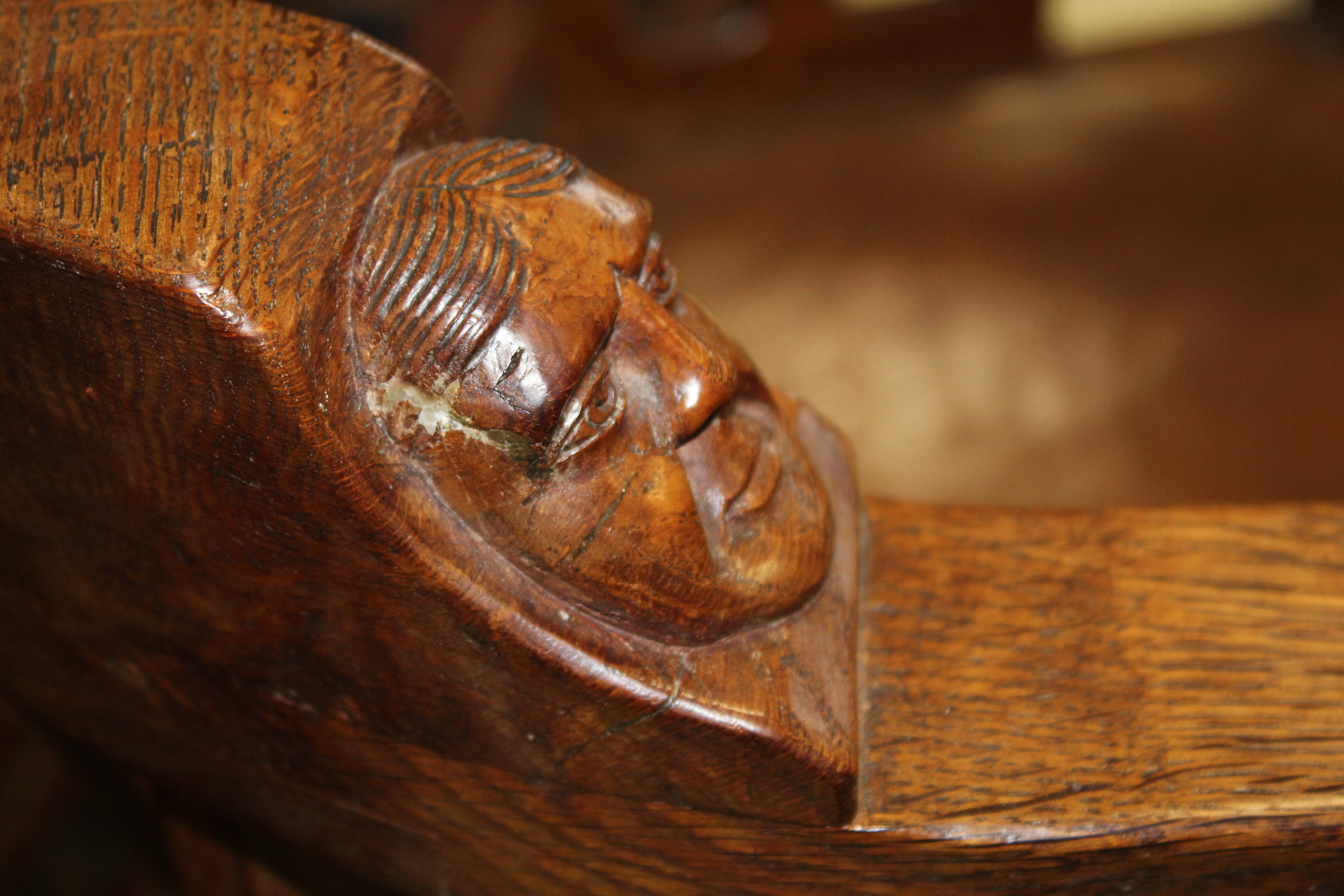 ROBERT THOMPSON OF KILBURN - MOUSEMAN MONKS CHAIR a circa 1920s/1930s oak Monk's armchair with a - Image 26 of 27