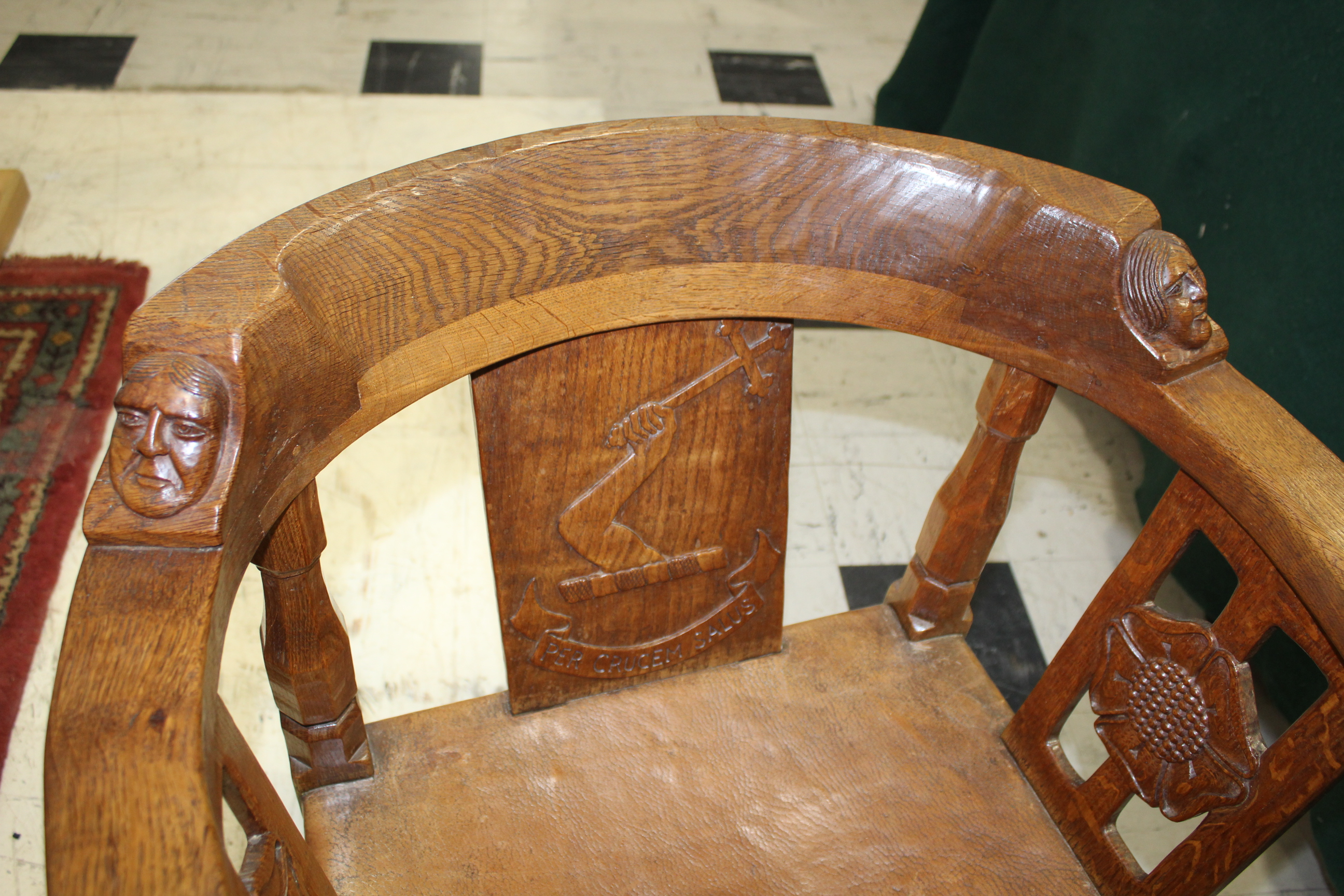 ROBERT THOMPSON OF KILBURN - MOUSEMAN MONKS CHAIR a circa 1920s/1930s oak Monk's armchair with a - Image 19 of 27